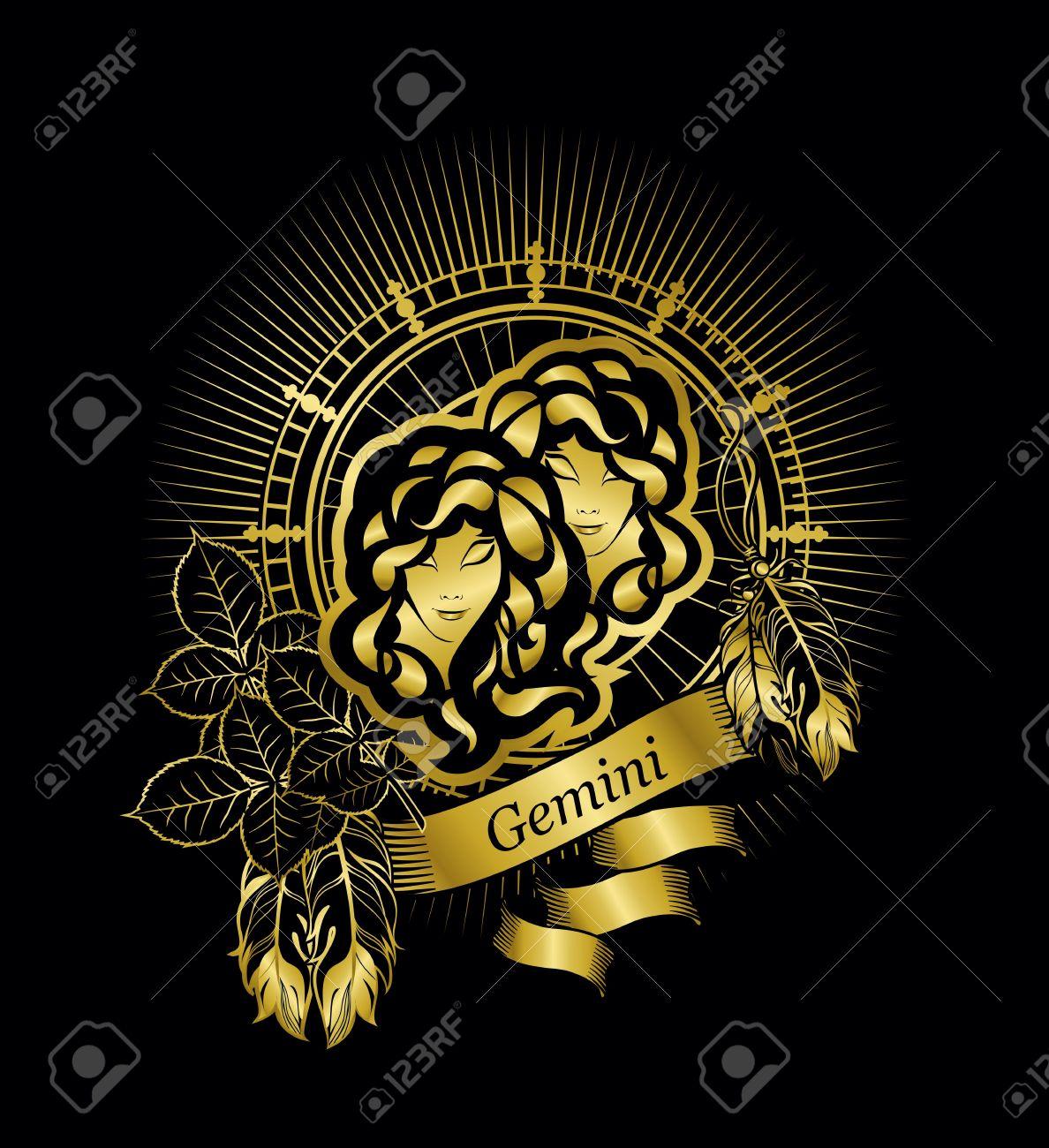 Astrological sign of the zodiac gemini two girls in a circular astrological sign of the zodiac gemini two girls in a circular shape in gold on a buycottarizona