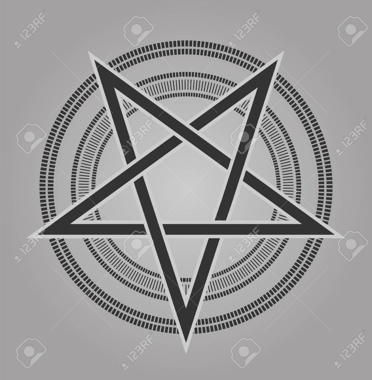 Vektor-Design Pentagramm Unterzeichnet Fünfzackigen Stern In Den ...
