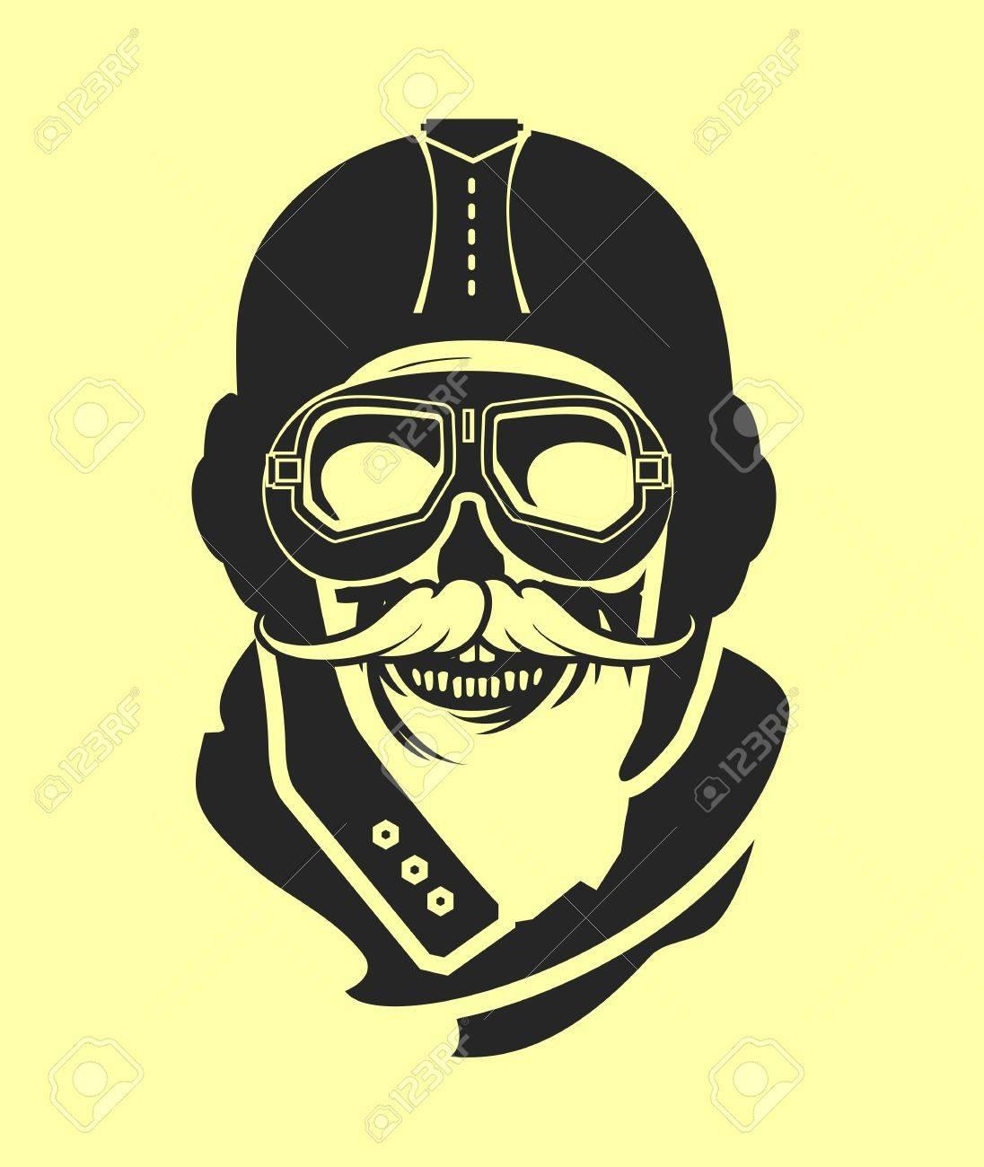 fc1de4fbe3 Dead pilot image of skull in helmet poster black and white Stock Vector -  56382509