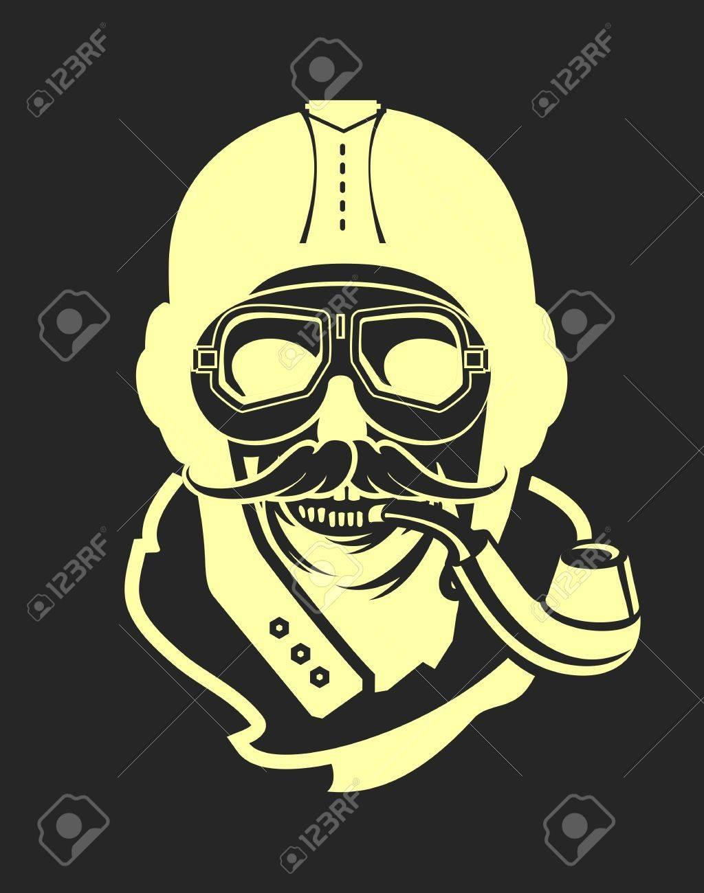 0c0e837c89 Dead pilot vector image of skull in helmet poster black and white Stock  Vector - 58600385