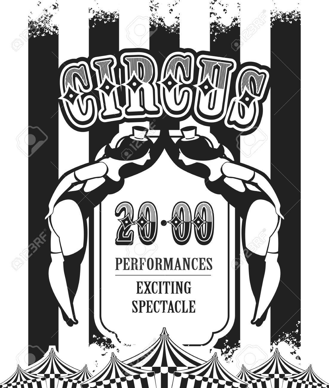 Vector vintage circus poster in black and white colors of the..