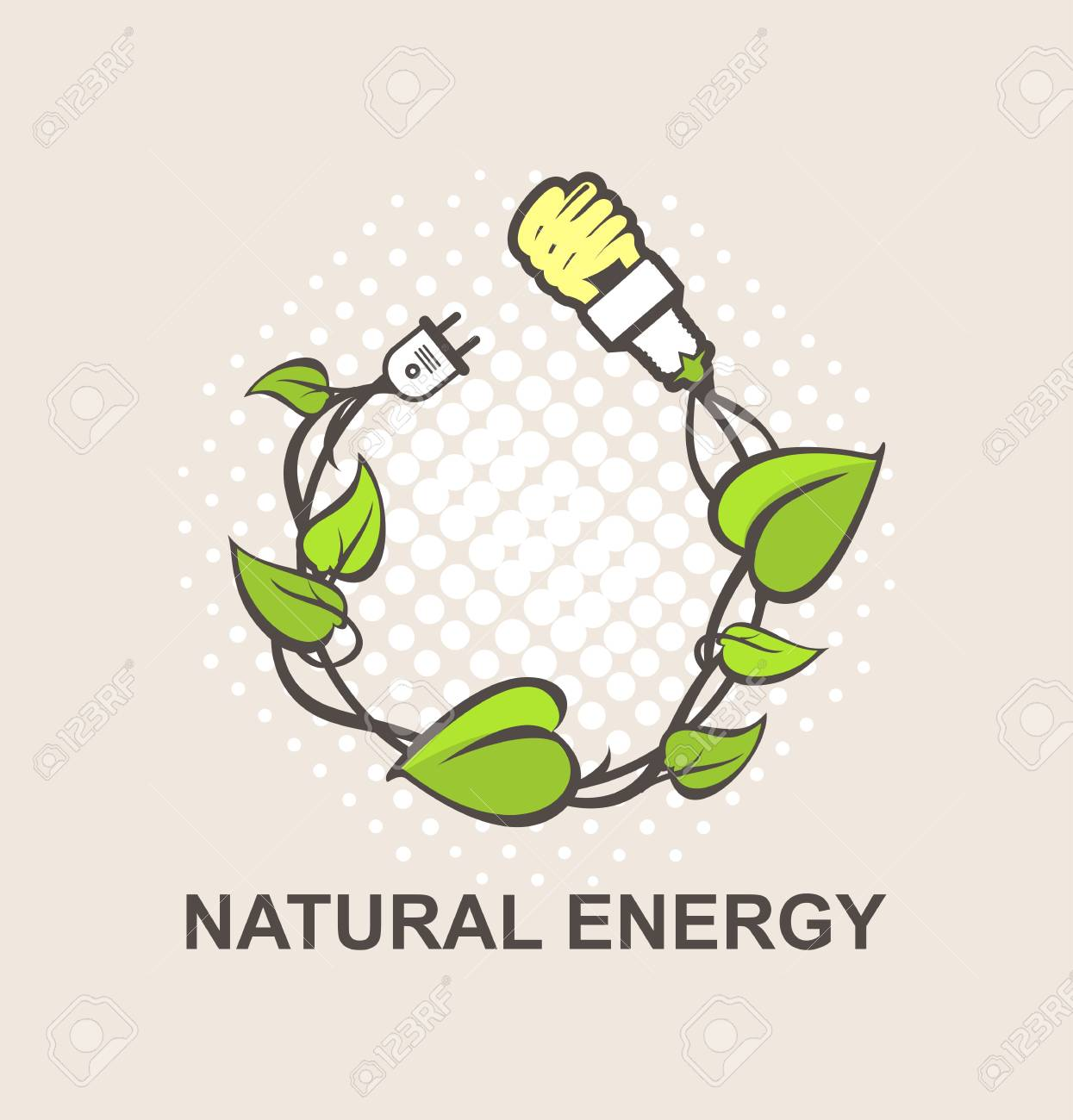 Green Energy Symbol Vector Wreath Woven In The Plant Connection ...