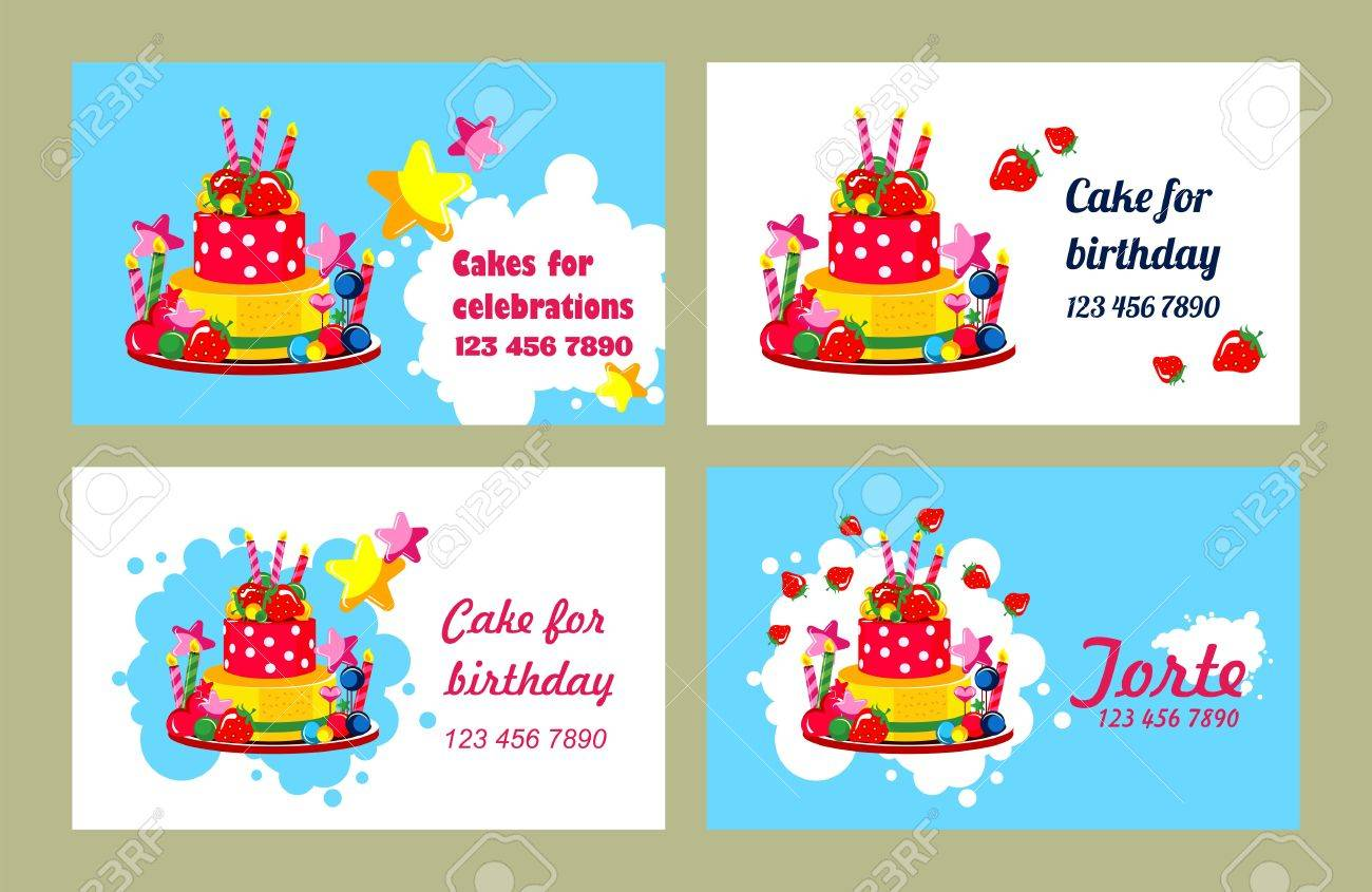 Vector Business Cards On Holidays Birthdays Can Be Used For Printing Advertising