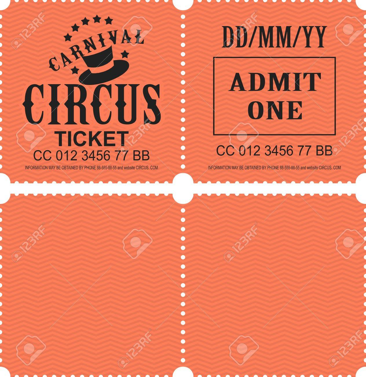retro tear off coupon ticket for presentation at the circus theater