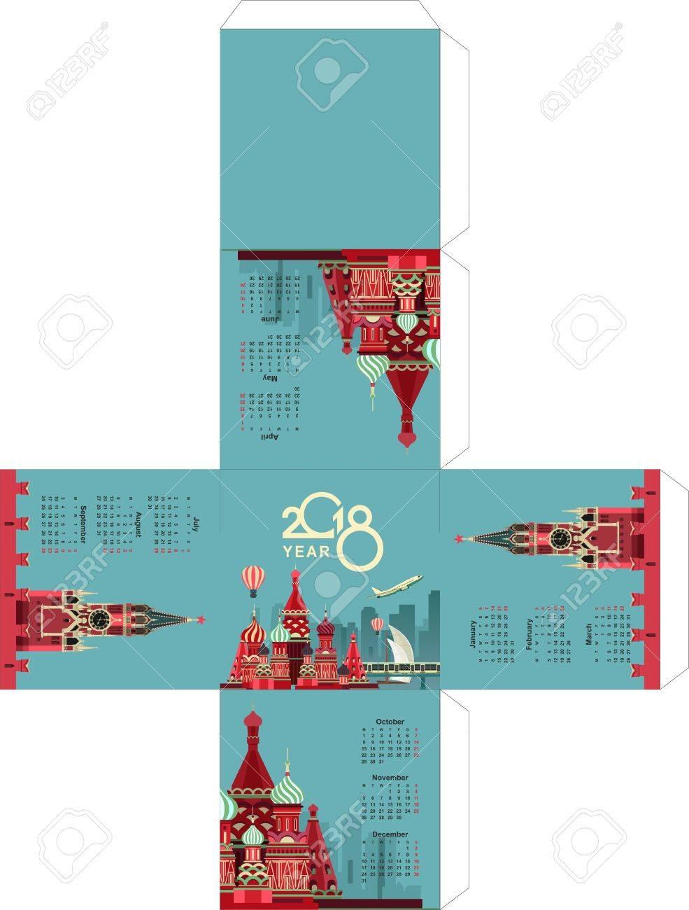 Vector Illustration Template For Gluing A Desktop Office Calendar