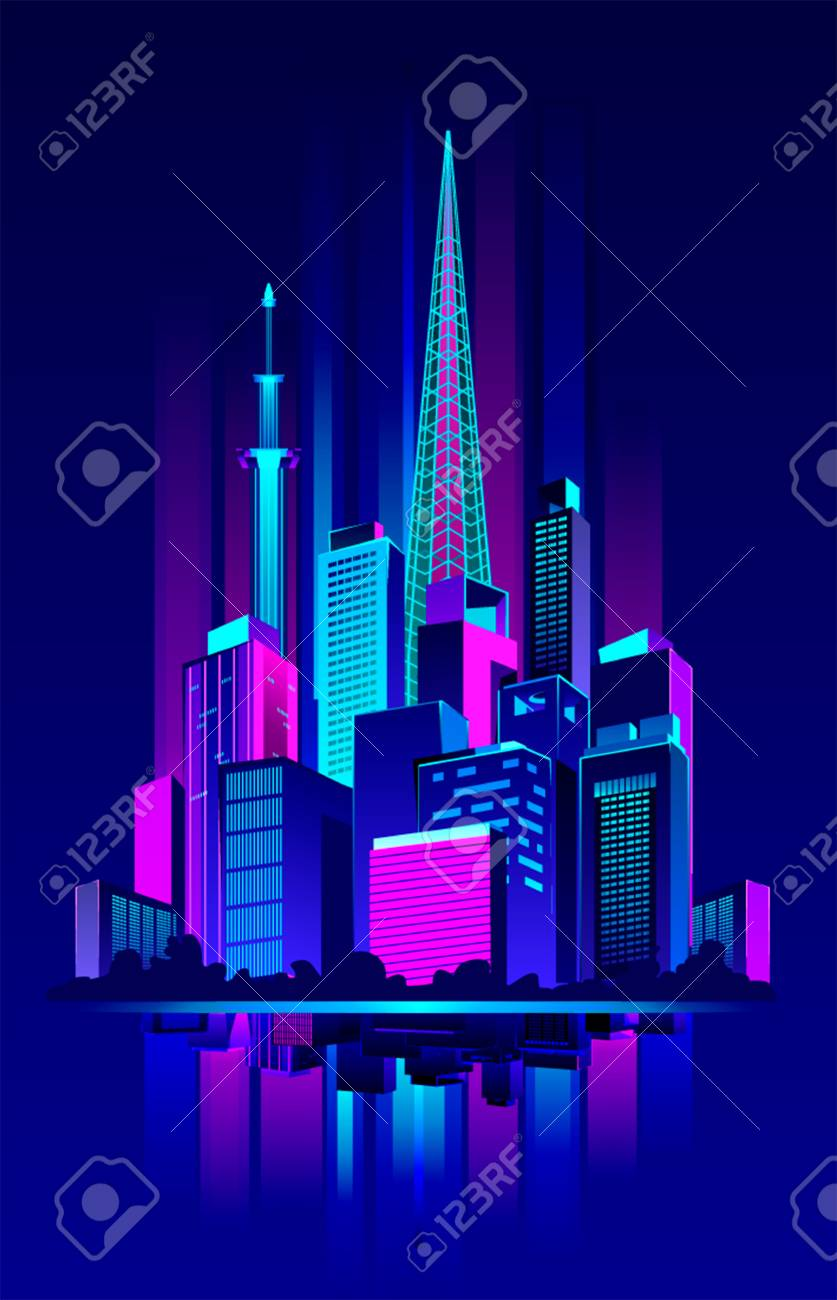 vector vector illustration of a night neon city in an abstract style on a dark glow background