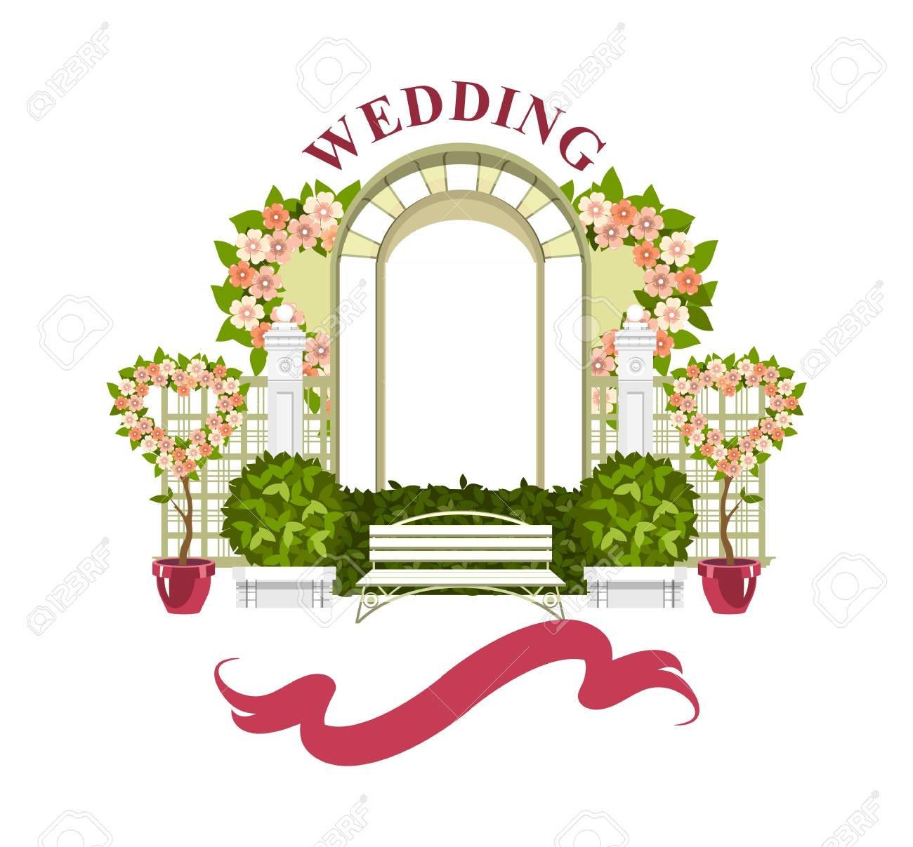 Wedding Arch On A White Background Of Plant Elements And Flowers Royalty Free Cliparts Vectors And Stock Illustration Image 102287235