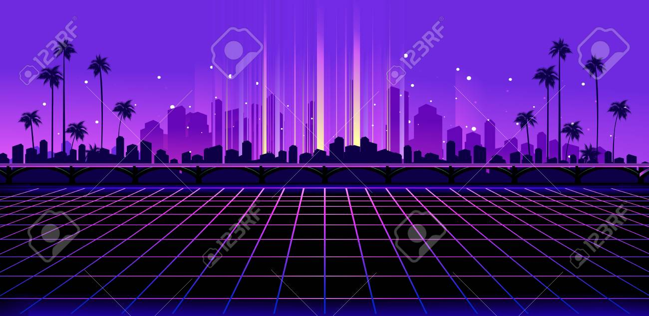 Sci Fi Vector Background Night City Skyline In The Style Of
