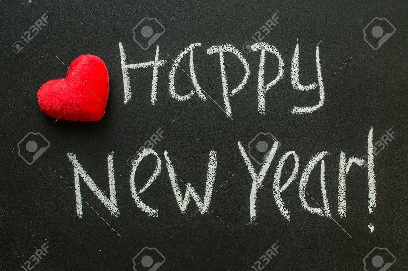 Frohes Neues Jahr Auf Tafel Geschrieben. Nachricht Gruß Lizenzfreie ...