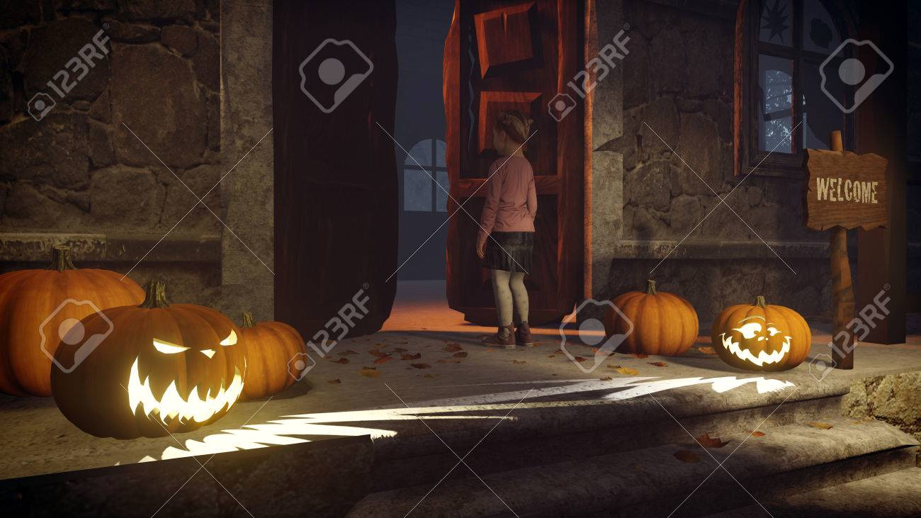 Illustration - Lost little girl on the doorstep of the creepy house decorated for Halloween. Realistic 3D illustration was done from my own 3D rendering ... & Lost Little Girl On The Doorstep Of The Creepy House Decorated ...