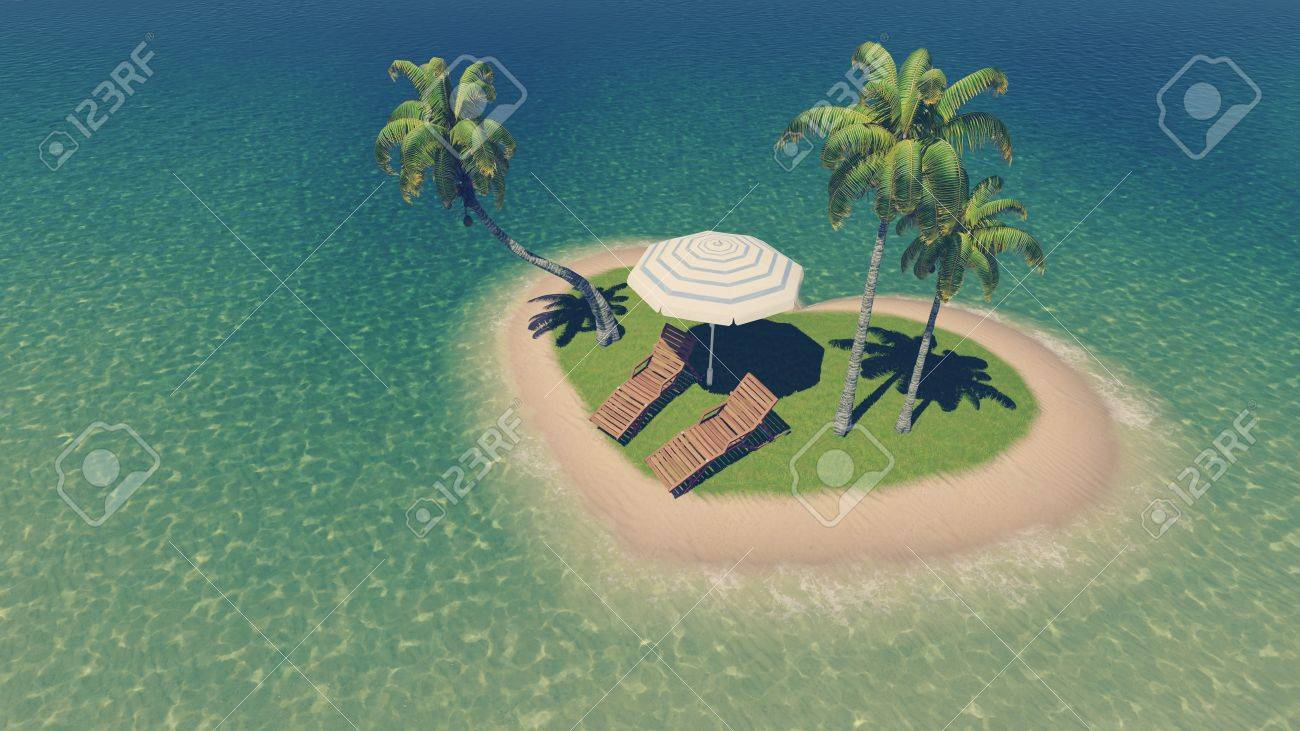 Top Down View On A Tiny Heart Shaped Tropical Island With Deck