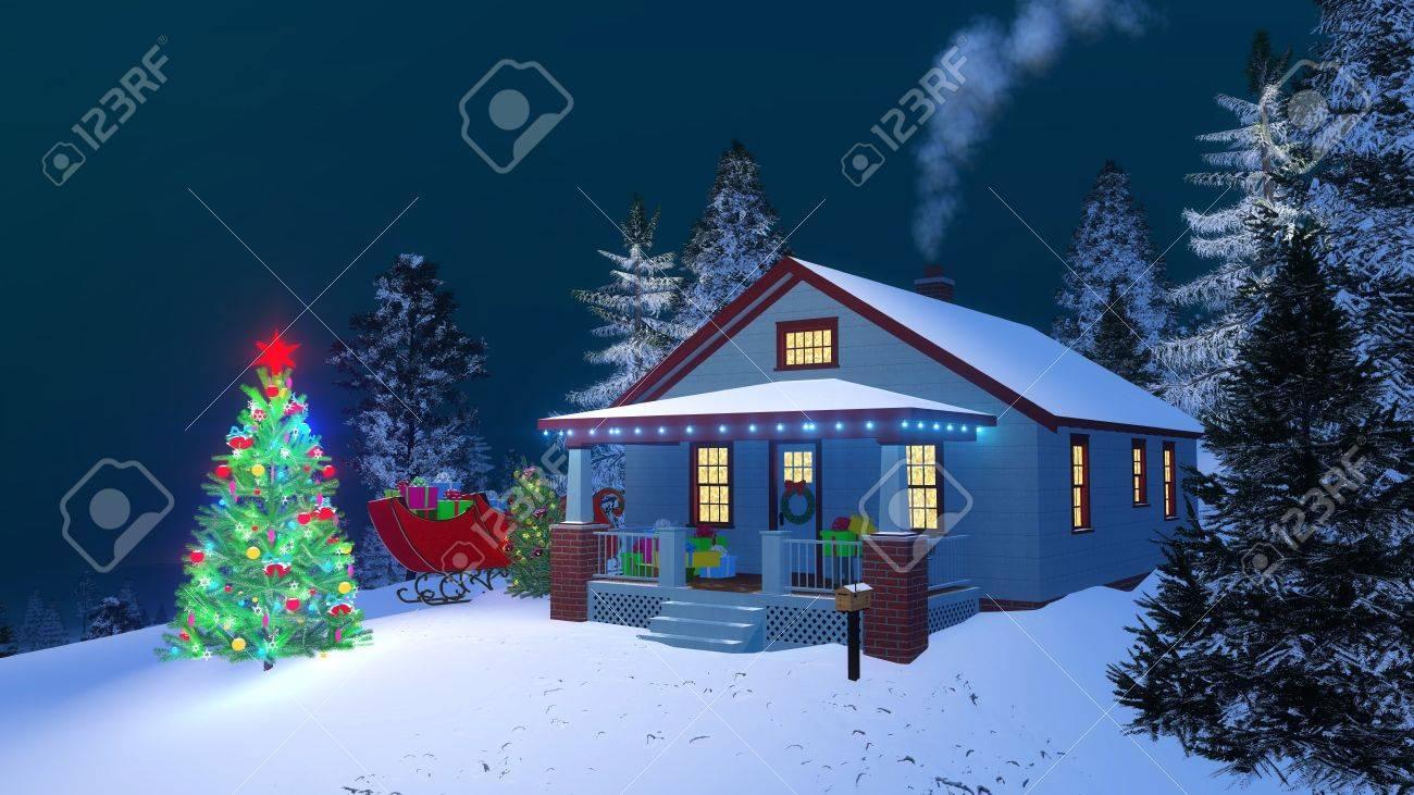 Maison traditionnelle américaine avec des coffrets cadeaux sur son porche,  lumières de noël, cheminée fumer et extérieur arbre de Noël décoré dans la