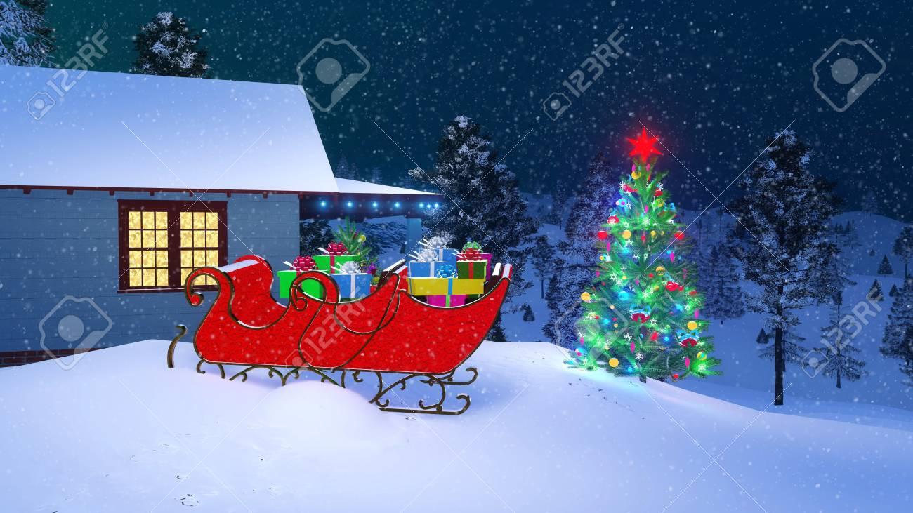 Outdoor Christmas Sleigh.House Of Santa Claus Decorated For Christmas With Santas Sleigh