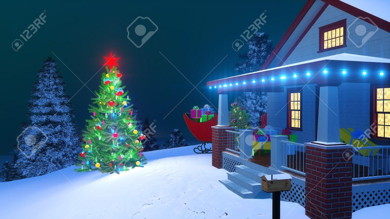 Weihnachtsbeleuchtung Schlitten.Stock Photo