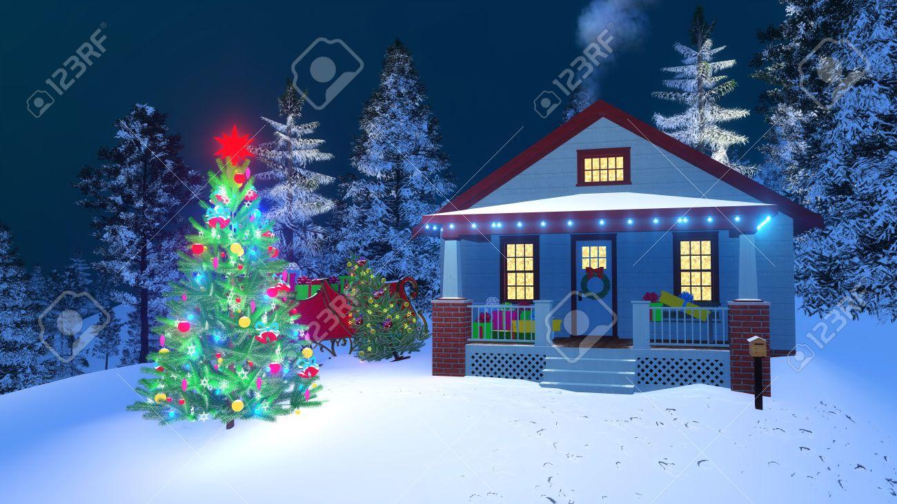 Amerikanische Weihnachtsbeleuchtung.Stock Illustration