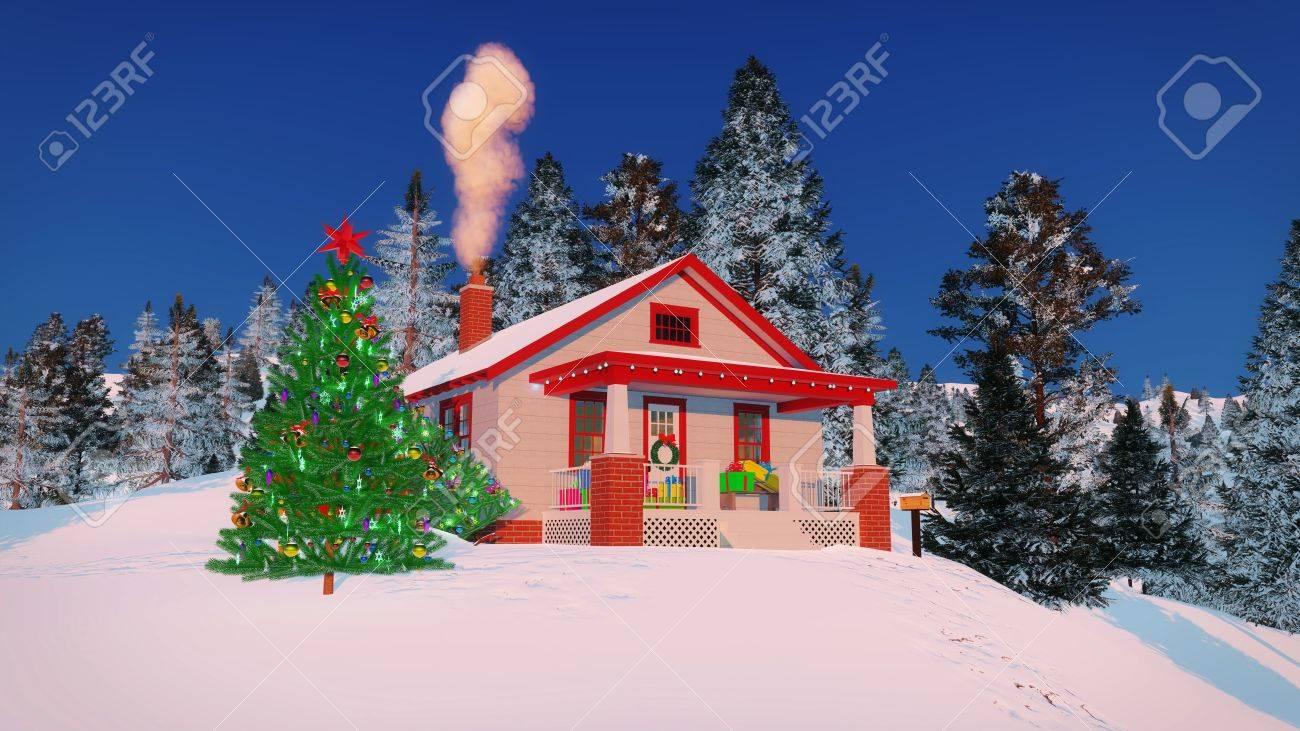 Maison traditionnelle américaine décorée pour Noël avec des coffrets  cadeaux sur son porche, cheminée fumer et extérieur arbre de Noël au soir  ou le