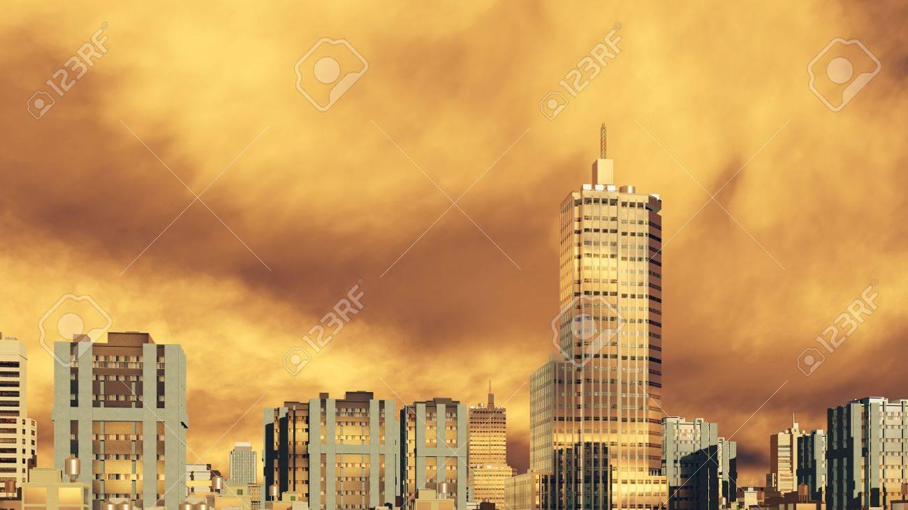 夕日や日の出風光明媚な空は黄金の雲に対して都市スカイライン高層ビル