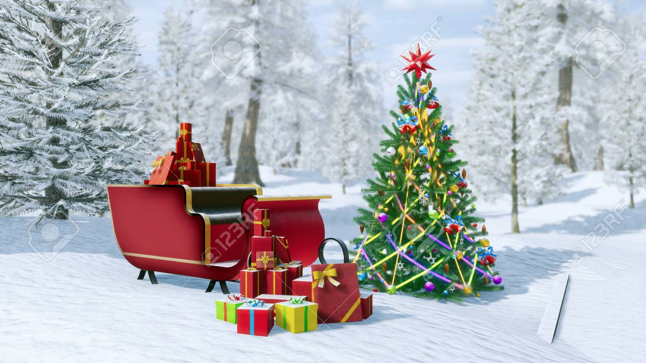 illustration outdoor decorated christmas tree and santa claus sleigh full of christmas gift boxes among snowy winter forest festive 3d illustration for