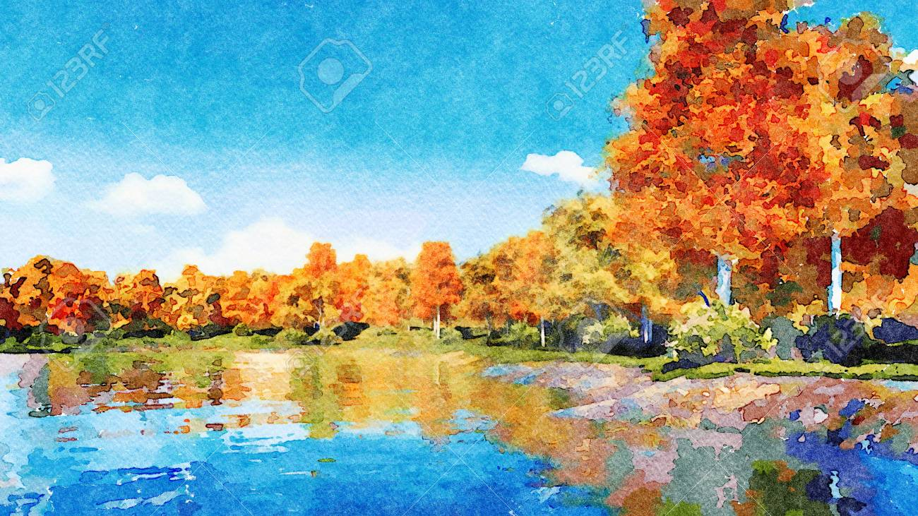 Beautiful Watercolor Autumn Landscape With Lush Colorful Autumnal