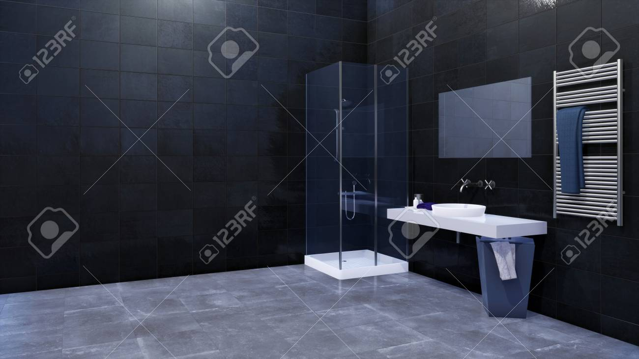 . Modern minimalist bathroom interior design with glass walk in