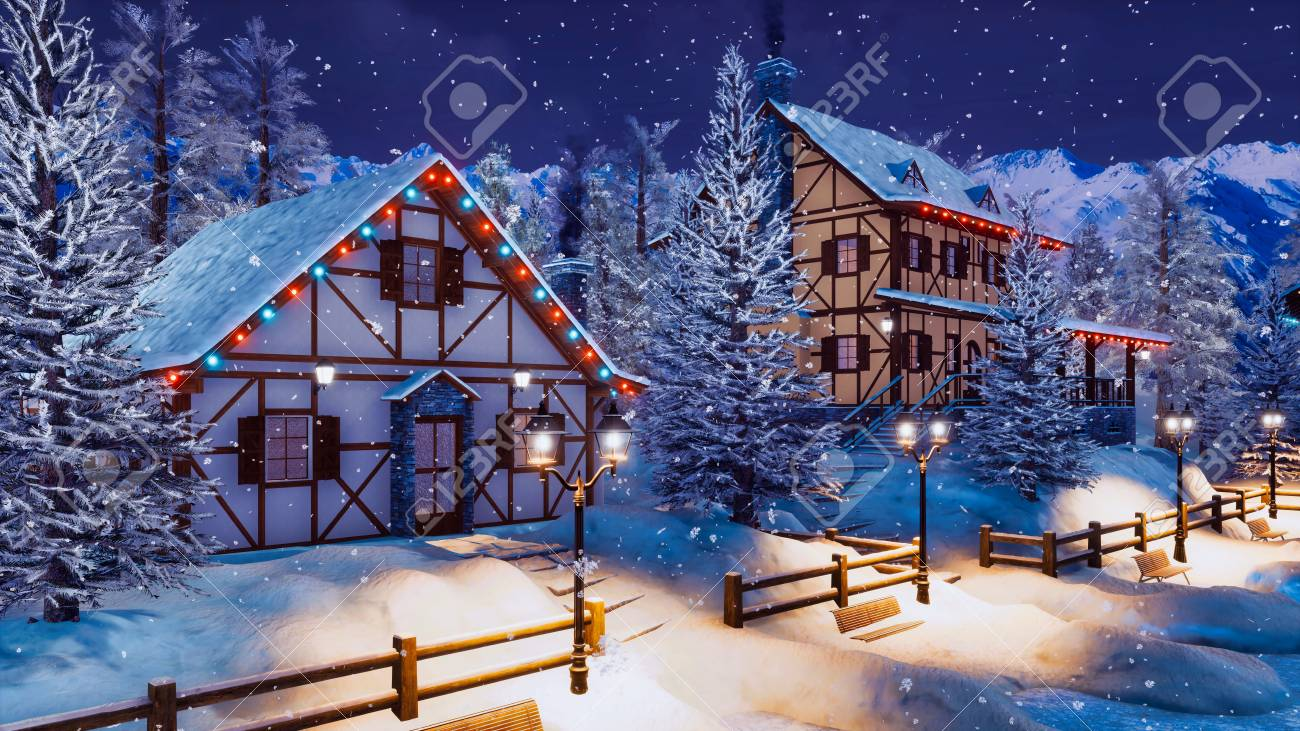 Marvelous Cozy Snow Covered Alpine Town High In Snowy Mountains With Illuminated Interior Design Ideas Skatsoteloinfo