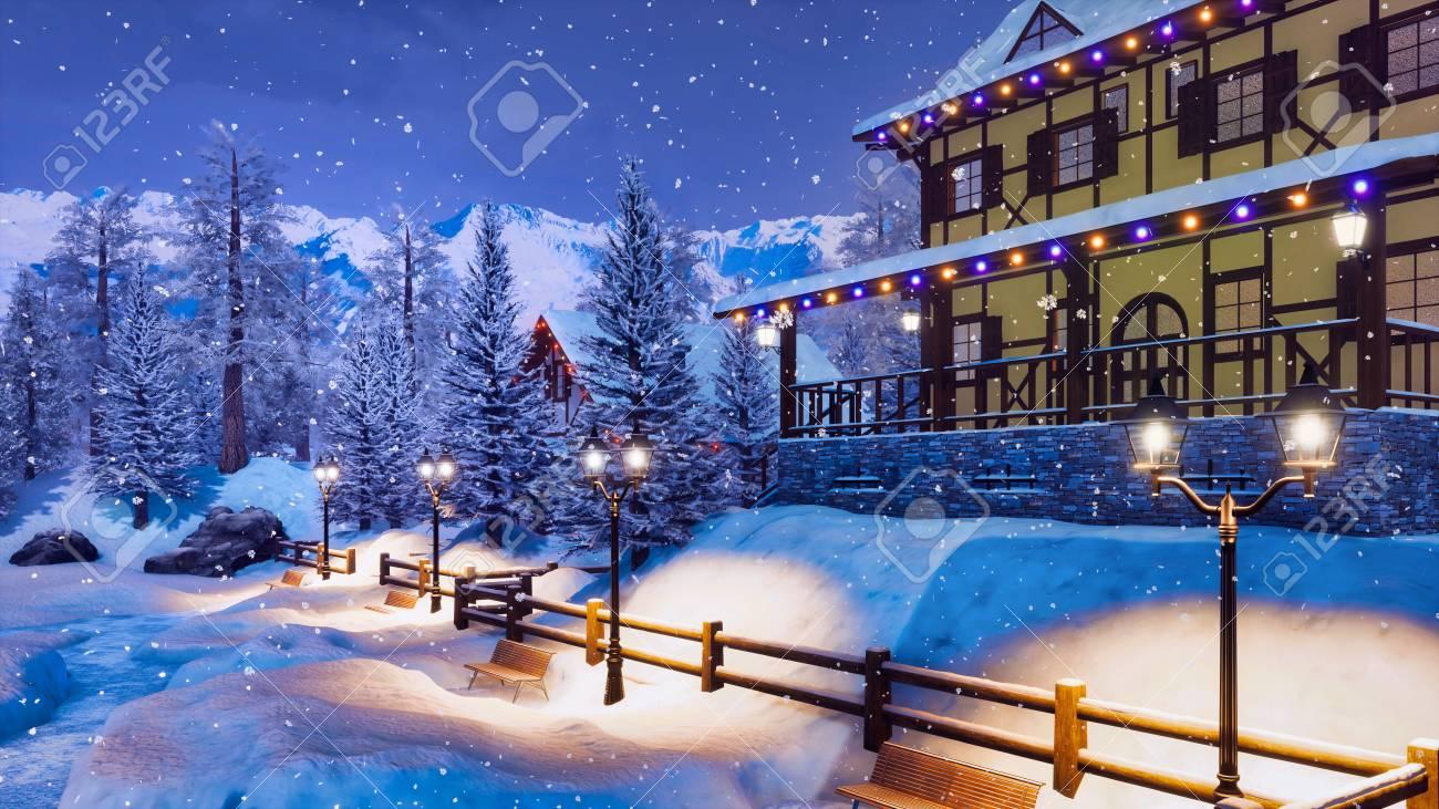 mountain ski resort in highland alpine village with snow covered