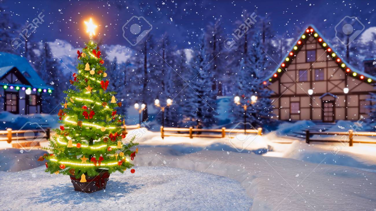 Outdoor Christmas Tree With Lights.Outdoor Christmas Tree Decorated By Luminous Star And Lights
