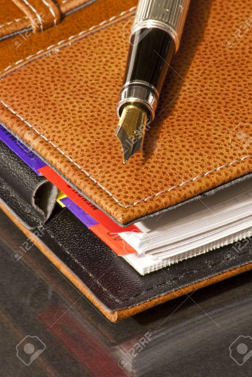 fountain pen on a leather Agenda Stock Photo - 6684579