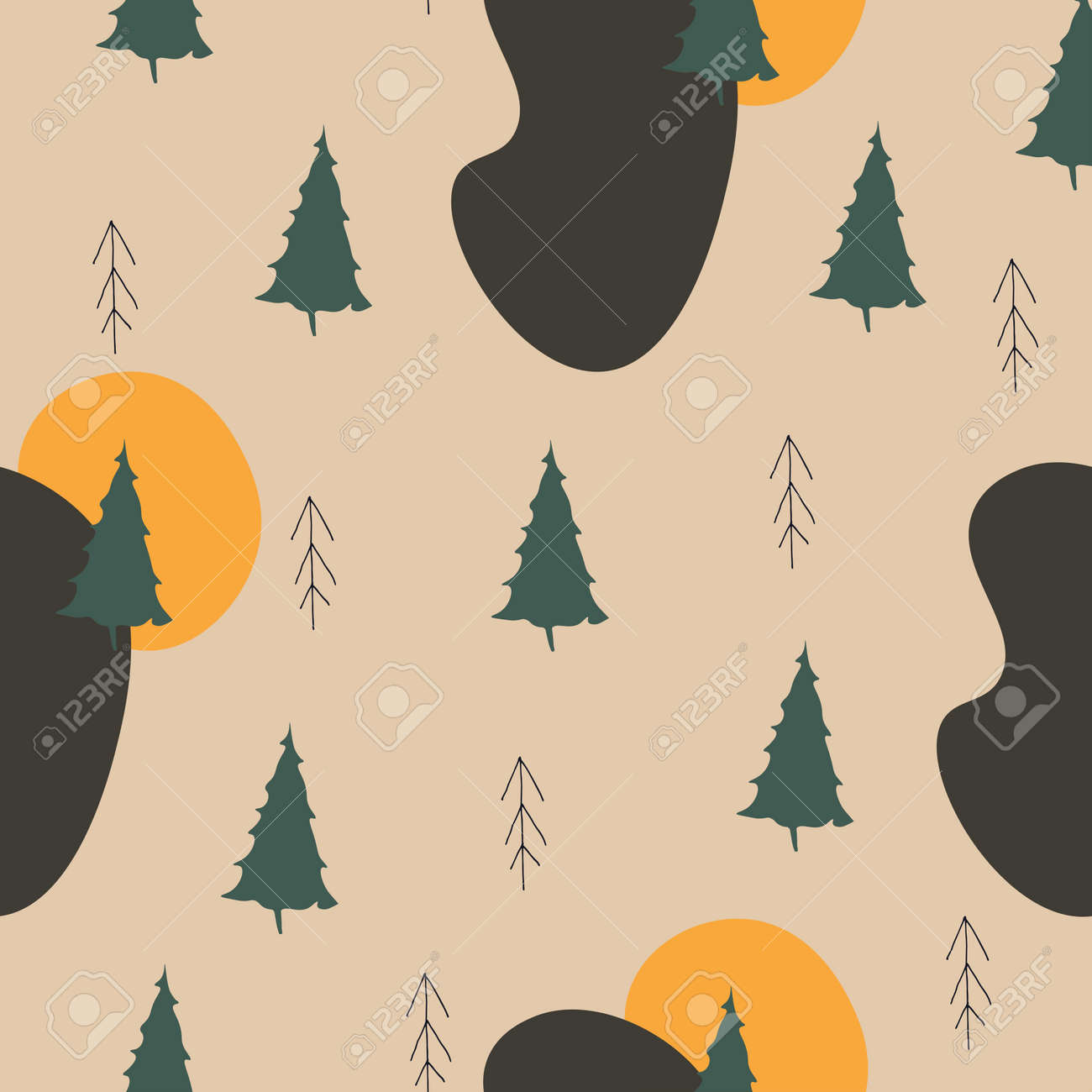 Cute forest vector pattern. Seamless design with firs hand-drawn trees in scandinavian style and spots. Children's illustrations for clothing, textiles, wrapping paper, covers. - 165591332