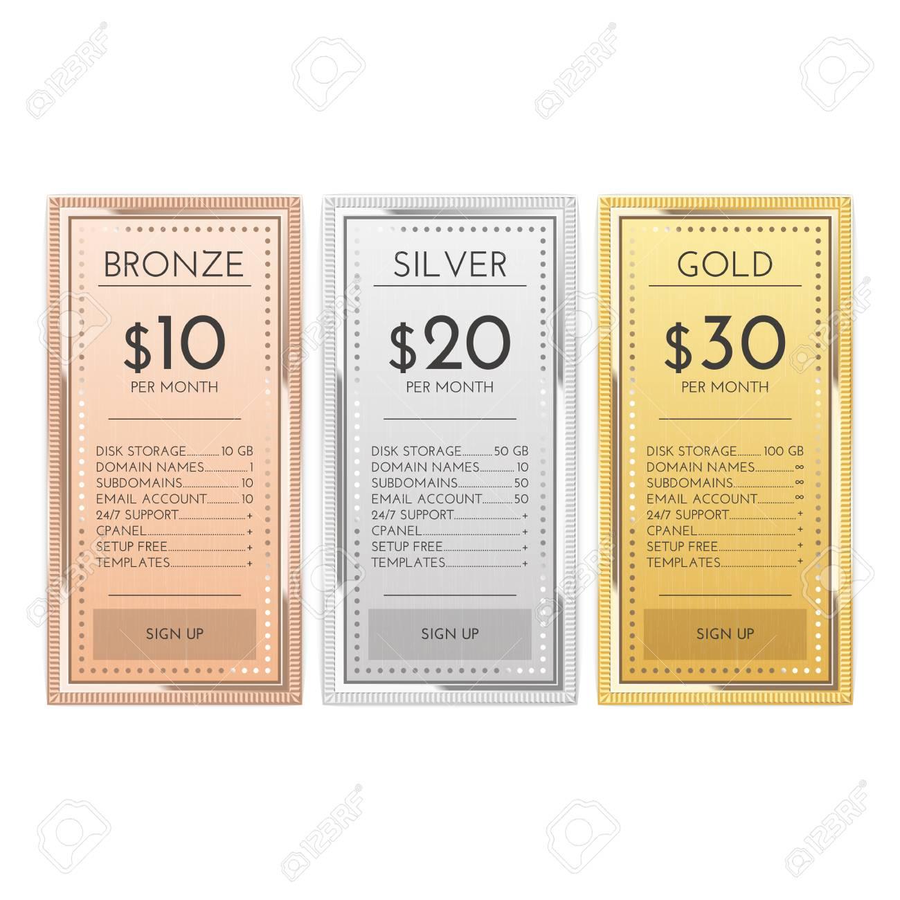 Tableau de comparaison des modèles en or, argent et bronze pour les entreprises commerciales. services et applications Web. Interface modèle de plan