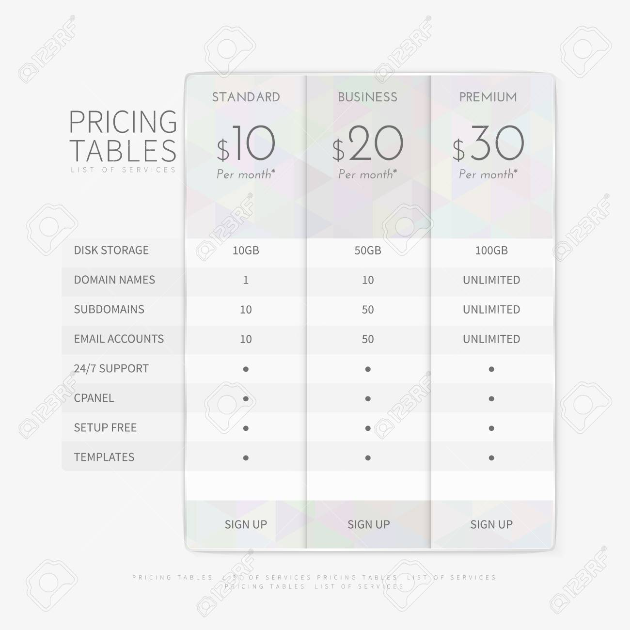 Table Chart Comparison Template For Commercial Business Web Services ...
