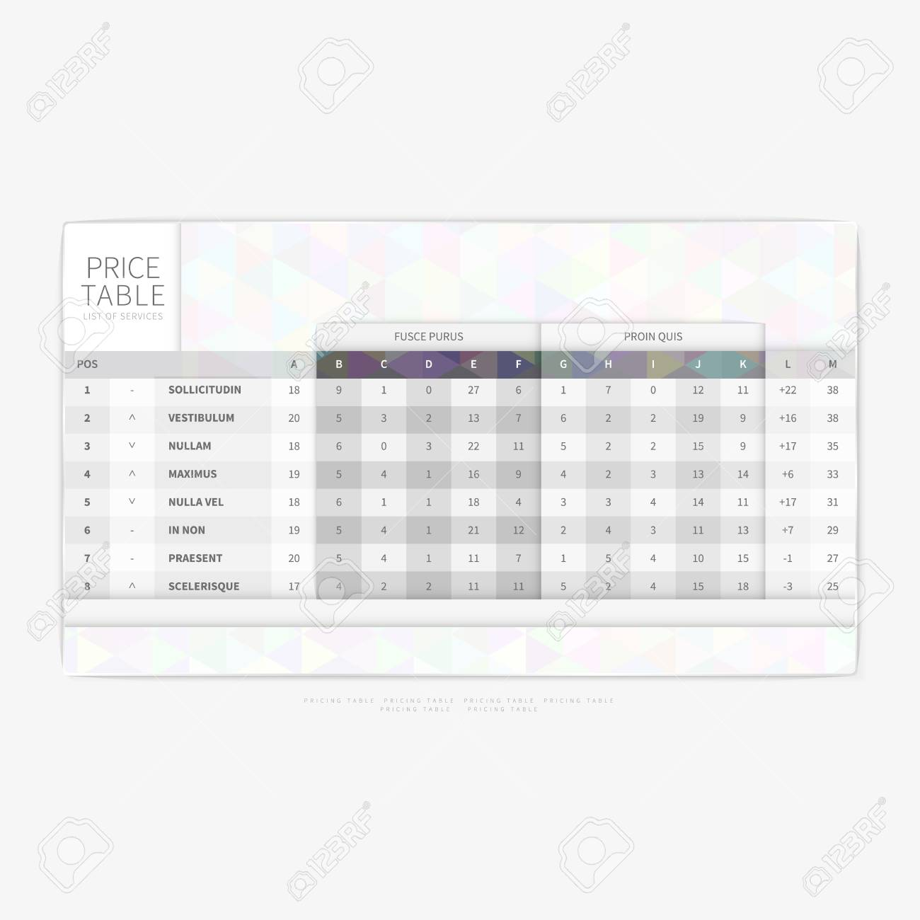 Table Chart Comparison Template For Commercial Business Web Services