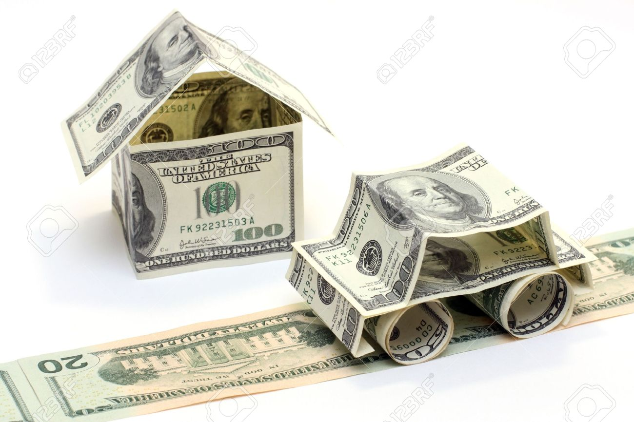 The car and the house made of Dollars Stock Photo - 2290023