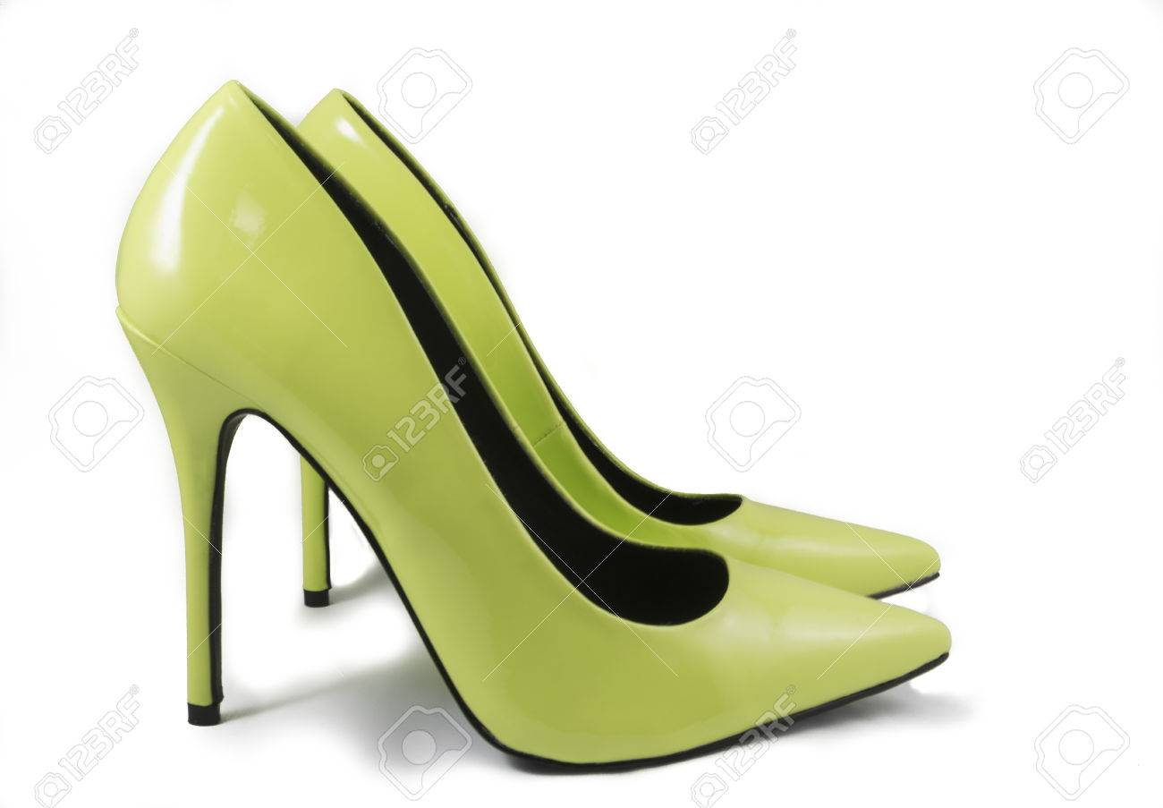 8be8568f58a Pair of Lime Green High Heel Shoes on White Background