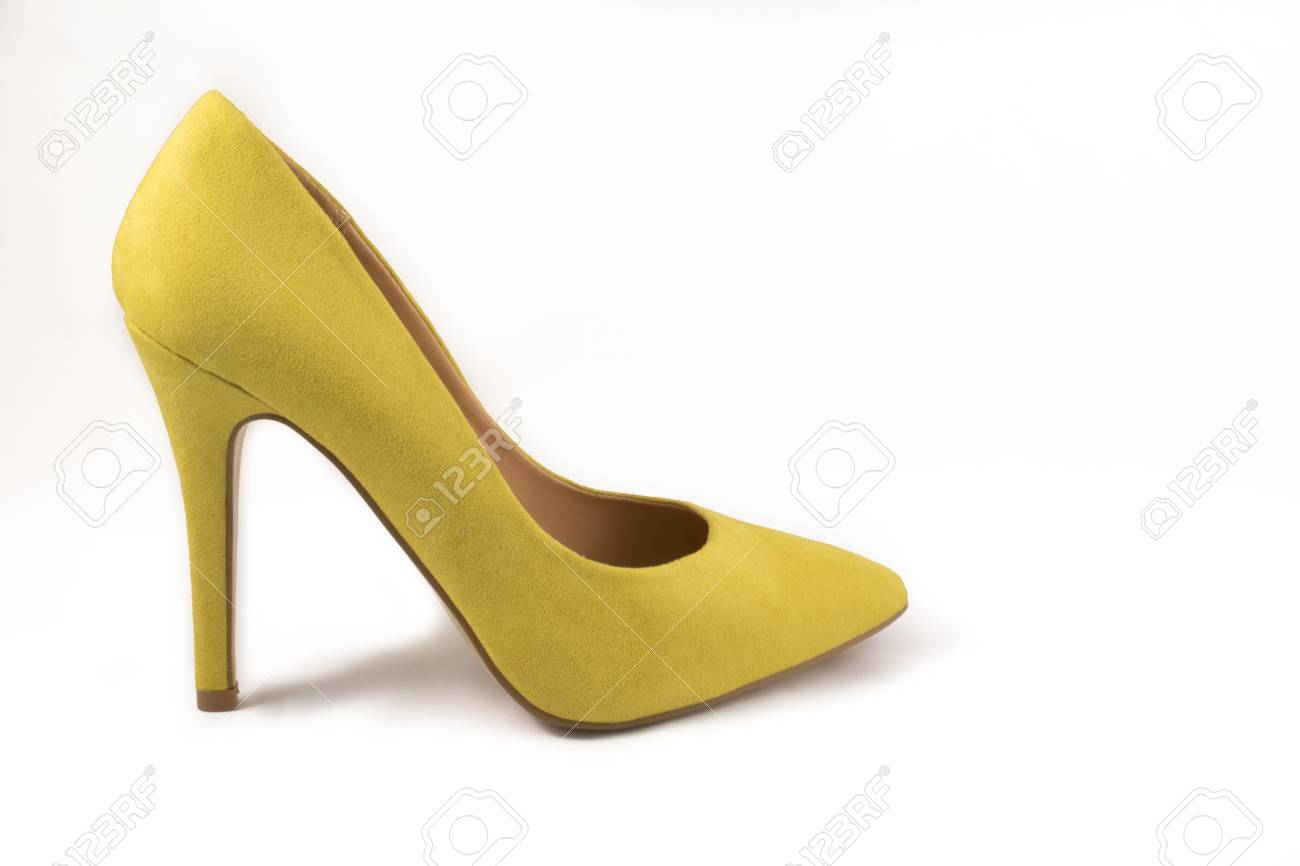 c9db9f1b42b9 Yellow High Heel Shoe on White Background Stock Photo - 44632389