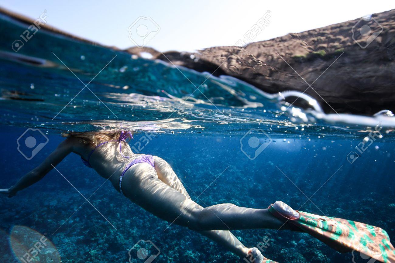 hot girl underwater in bikini beautiful ass stock photo, picture and