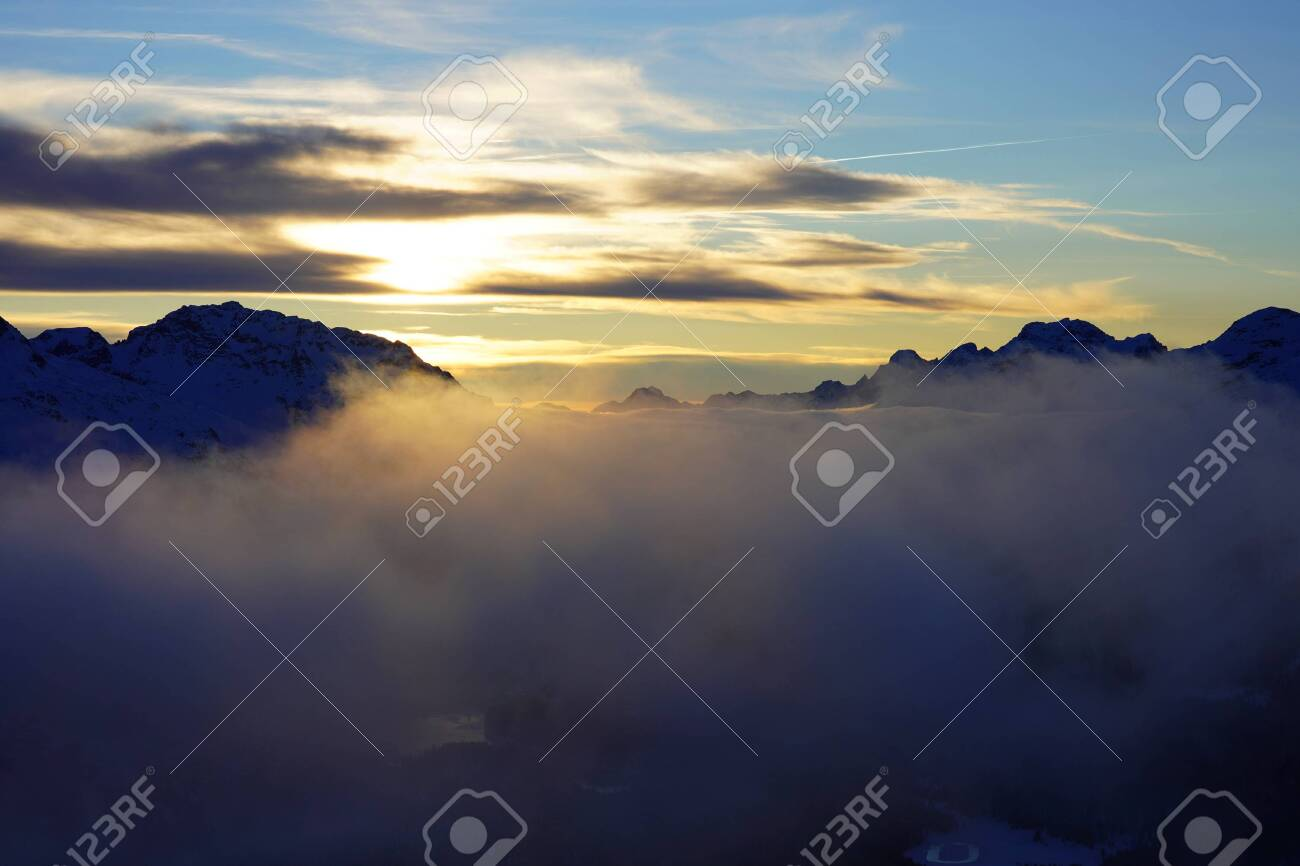 Sunset in the winter mountains, beautiful landscape - 153325146