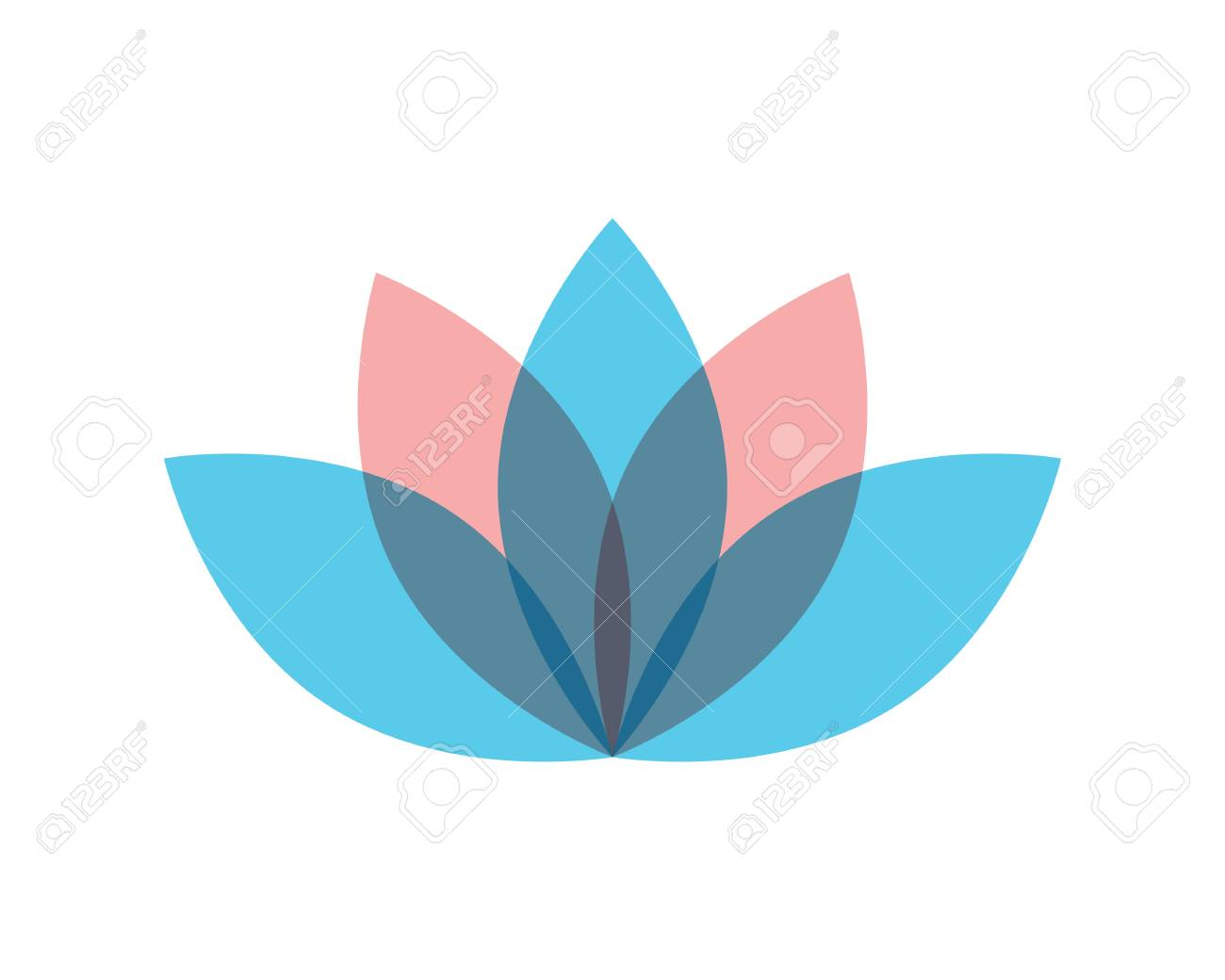 Lotus Flower Sign For Wellness Spa And Yoga Vector Illustration