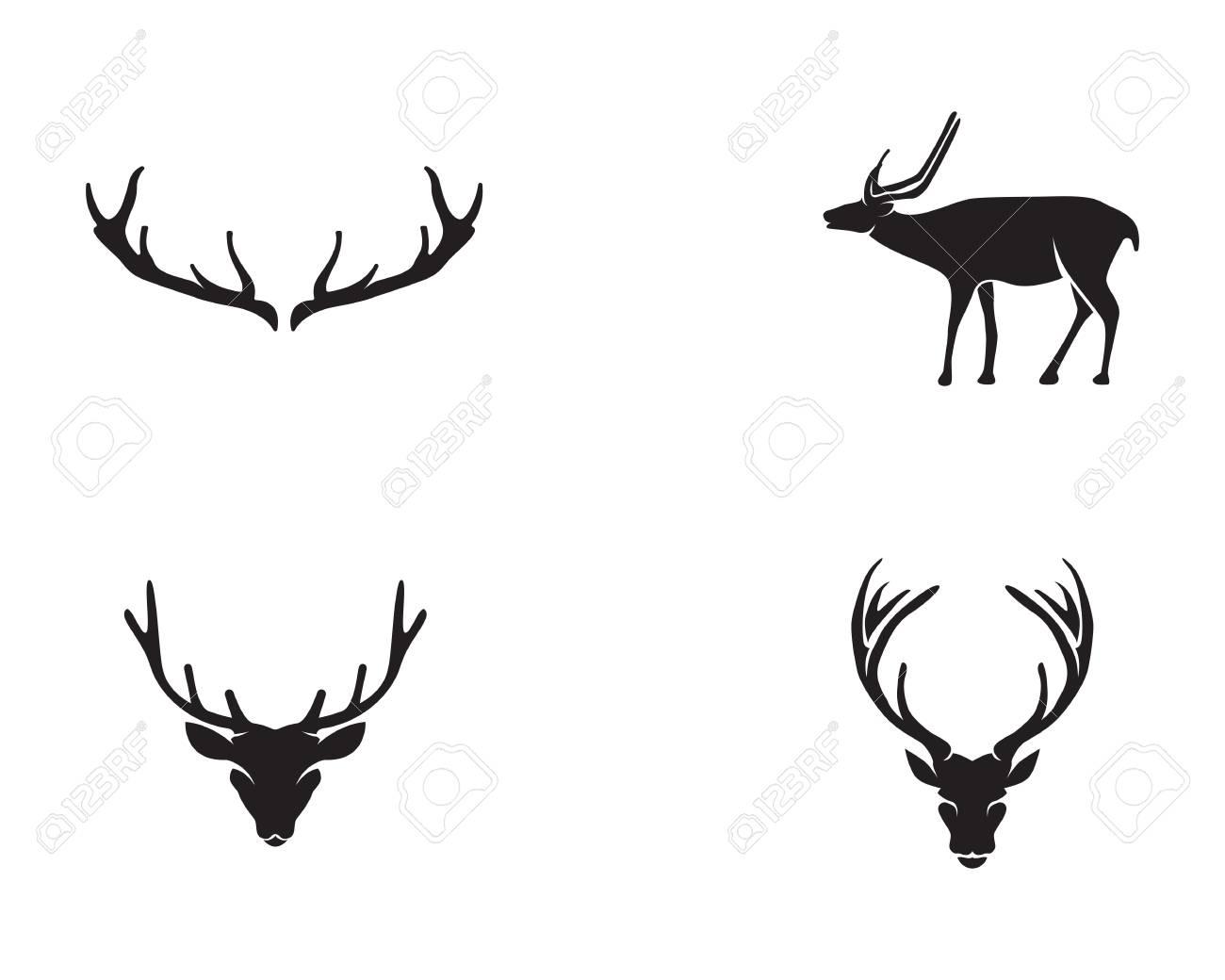 Head Deer Animals Logo Black Silhouete Icons Stock Vector