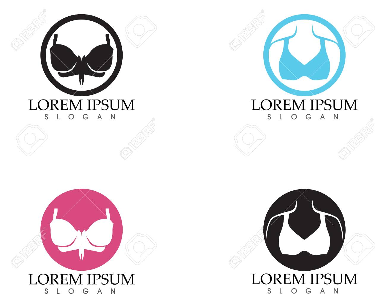 9e97ed7eef219 Set of different push up bras isolated over white background Stock Vector -  97616445