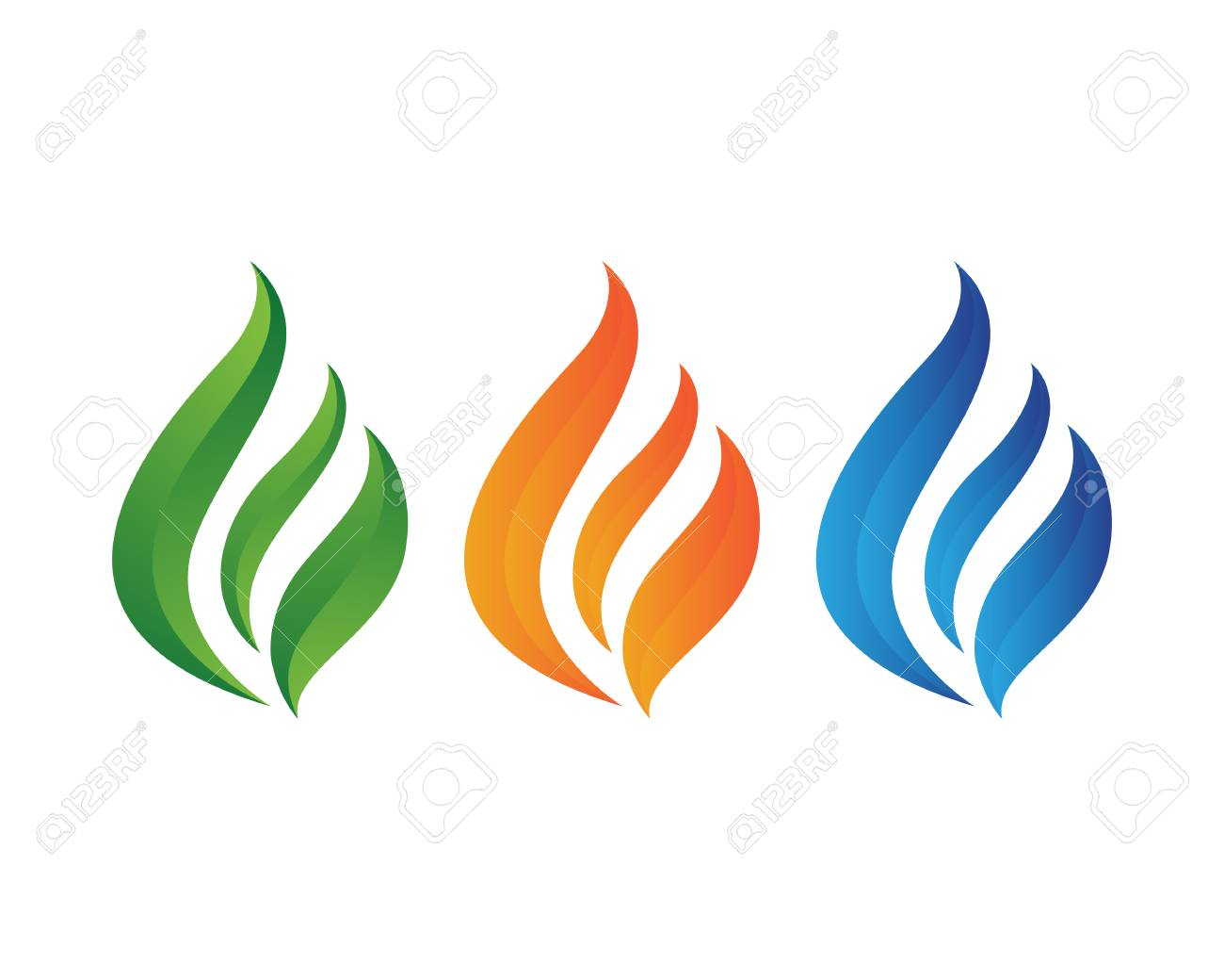 fire flame nature logos and symbols icons template set royalty free