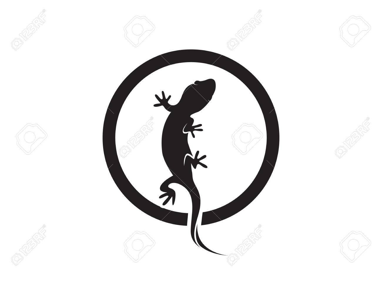 Eidechse Chamäleon Gecko Silhouette Schwarz Vektor Lizenzfrei
