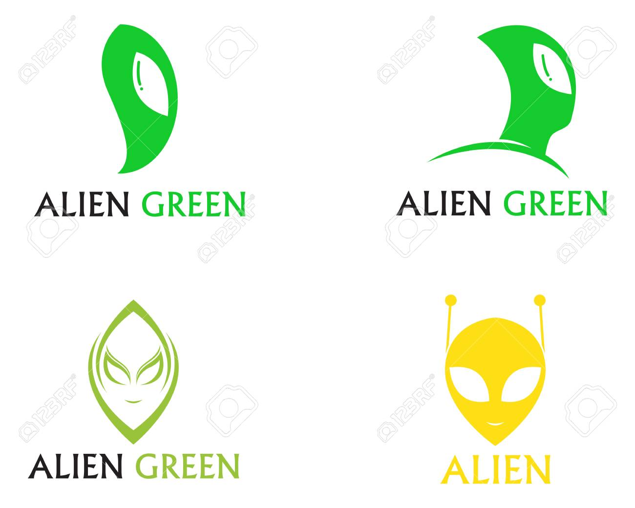 Alien Face Icon Vector Logo And Symbols Template Royalty Free