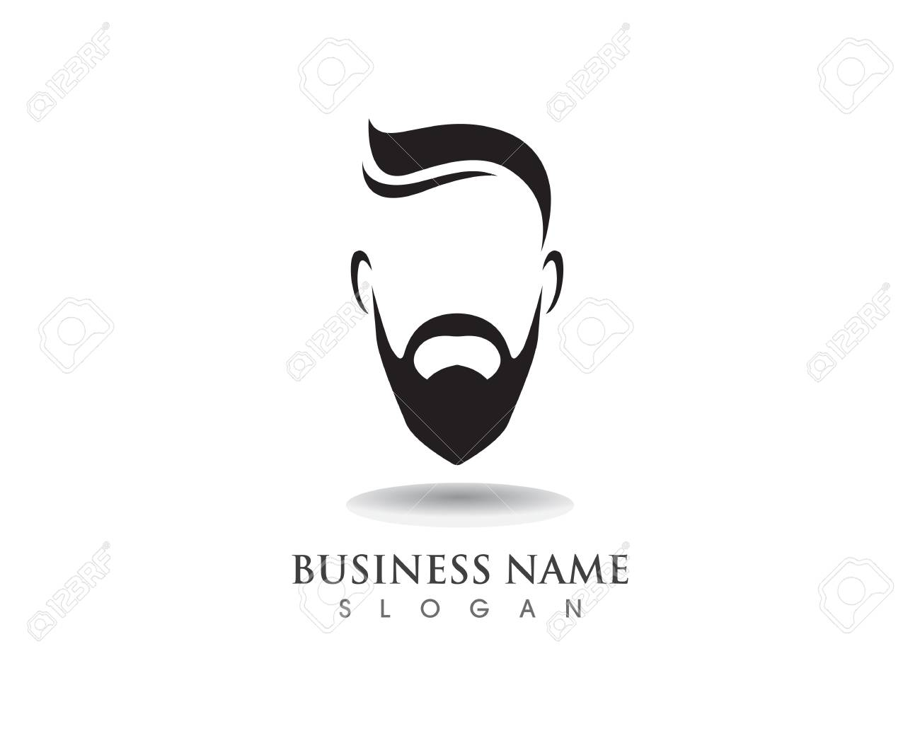 masculine beard black hair geek icon and symbol template royalty
