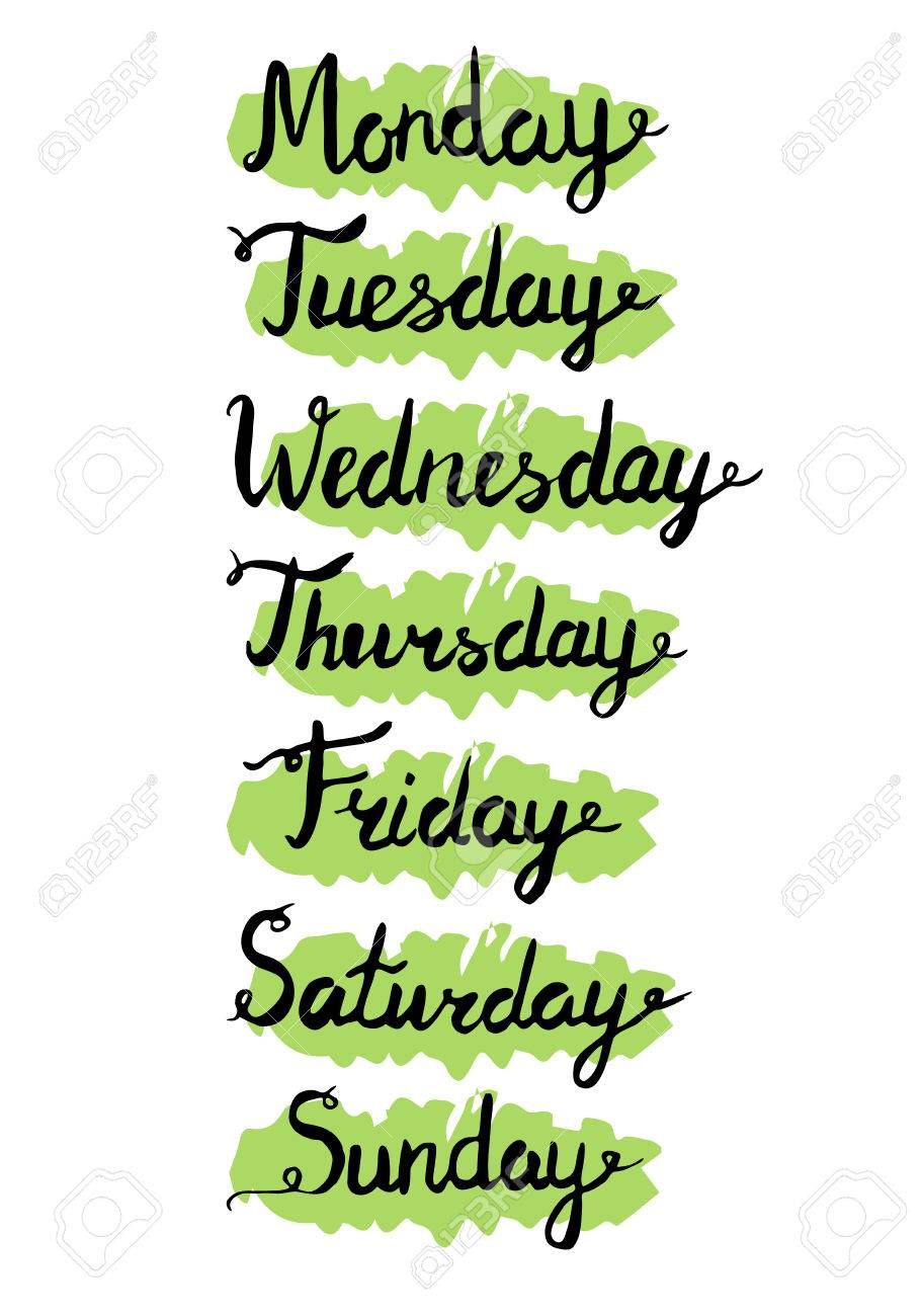 平日 7 日間レタリングします カレンダーです 月曜日 火曜日 水曜日