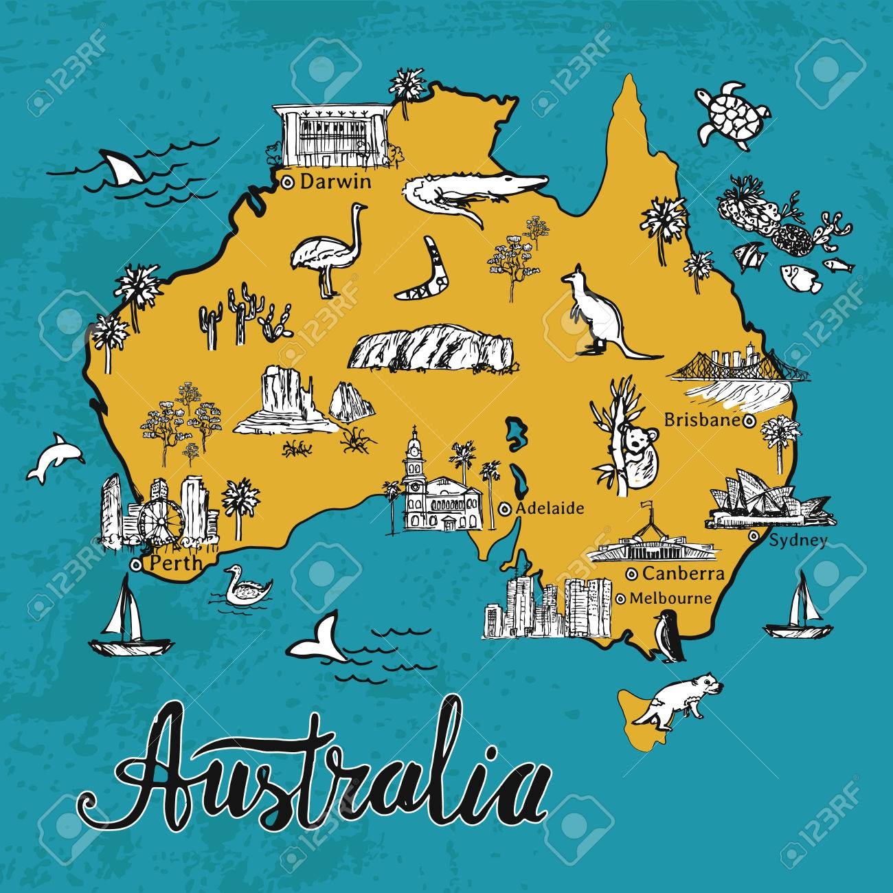 Drawing Australia Vector Map. Hand Drawn Map Of Australian Continent ...