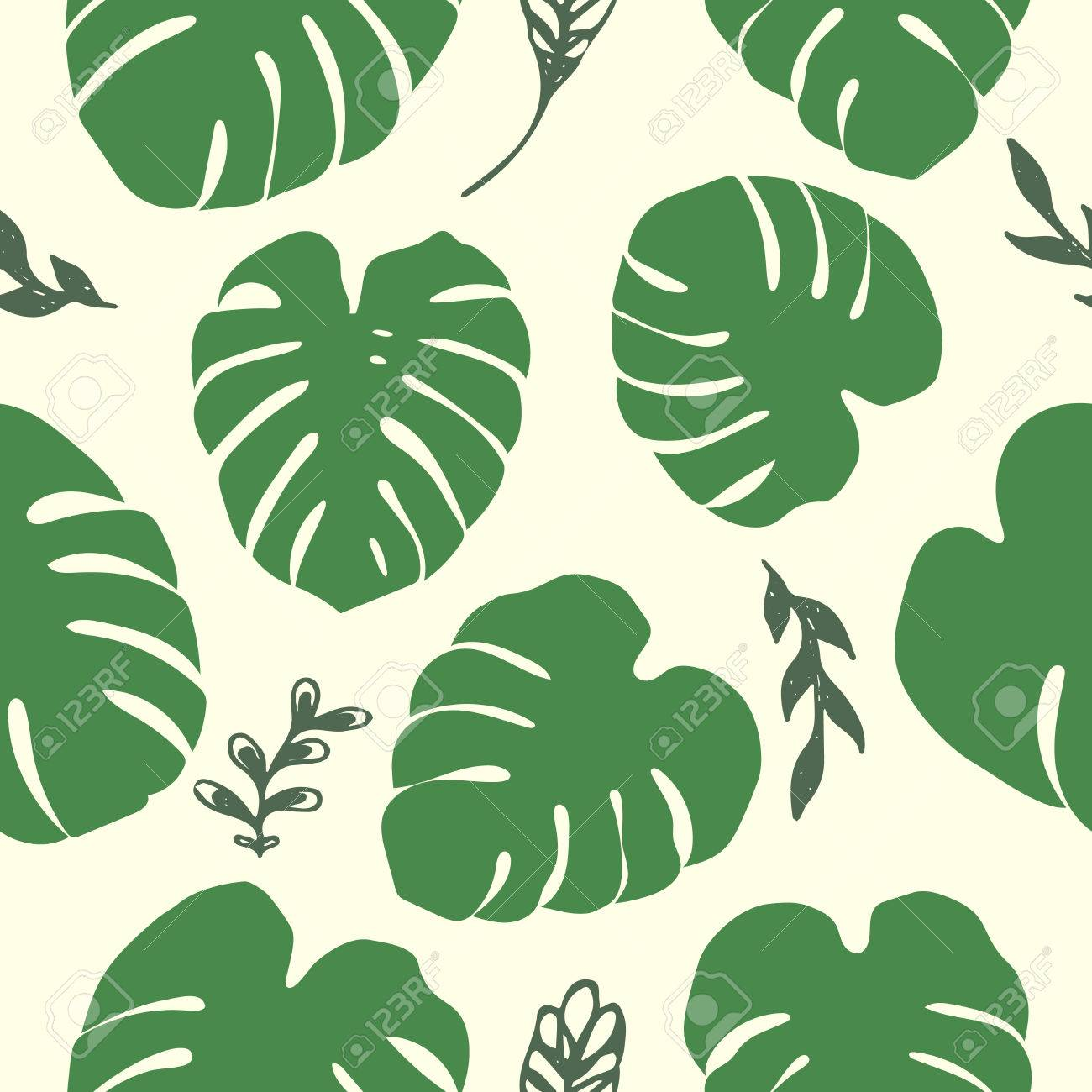 Green Tropical Monstera Leaves Seamless Pattern Unique Plant Royalty Free Cliparts Vectors And Stock Illustration Image 76736886