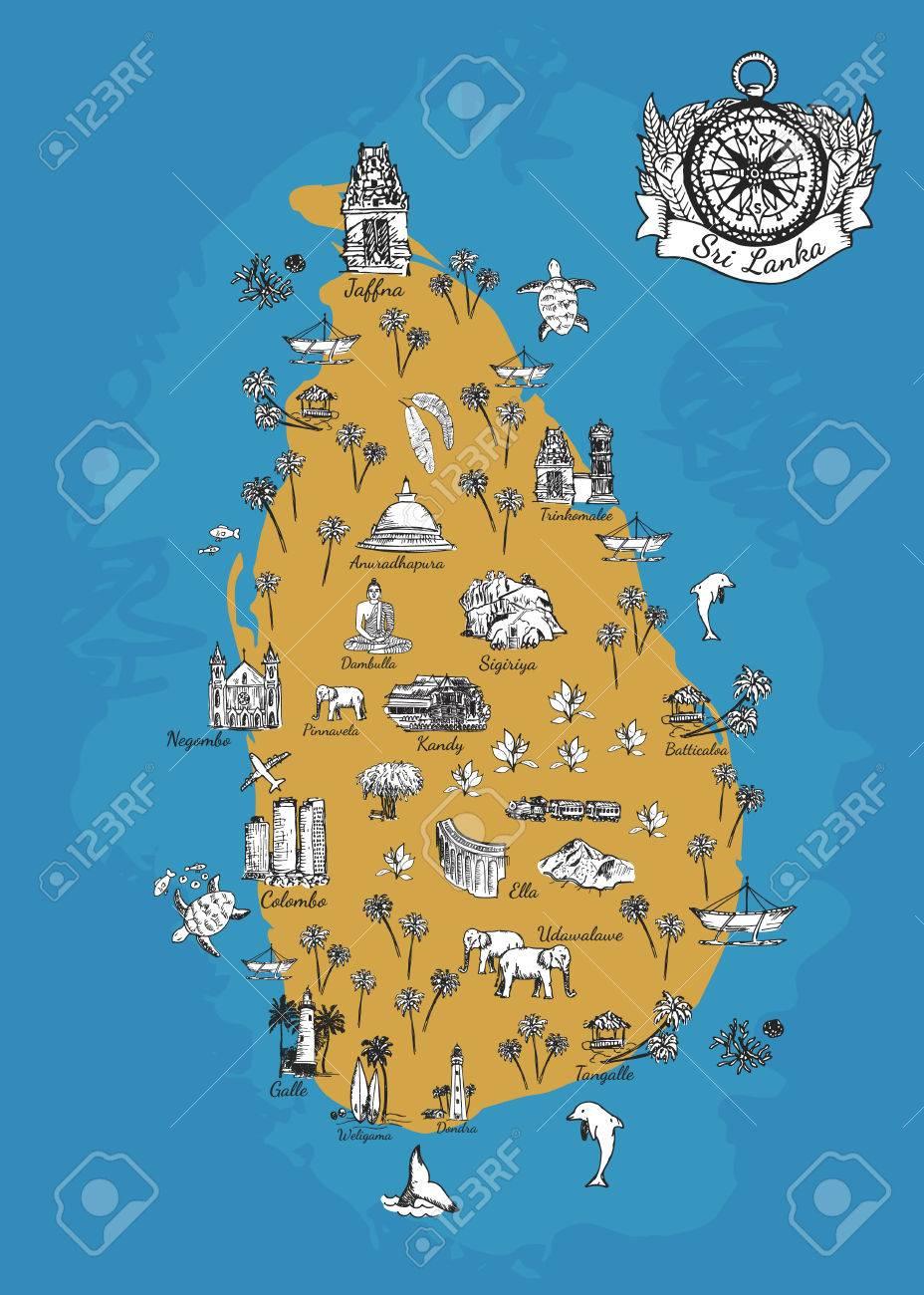 Sri Lanka Karte Zum Drucken.Stock Photo