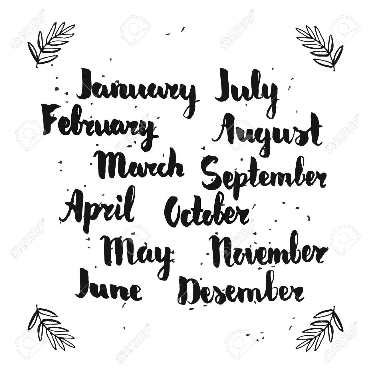 Hand Lettering Of Months Sketch For Calendar Or Planner Royalty