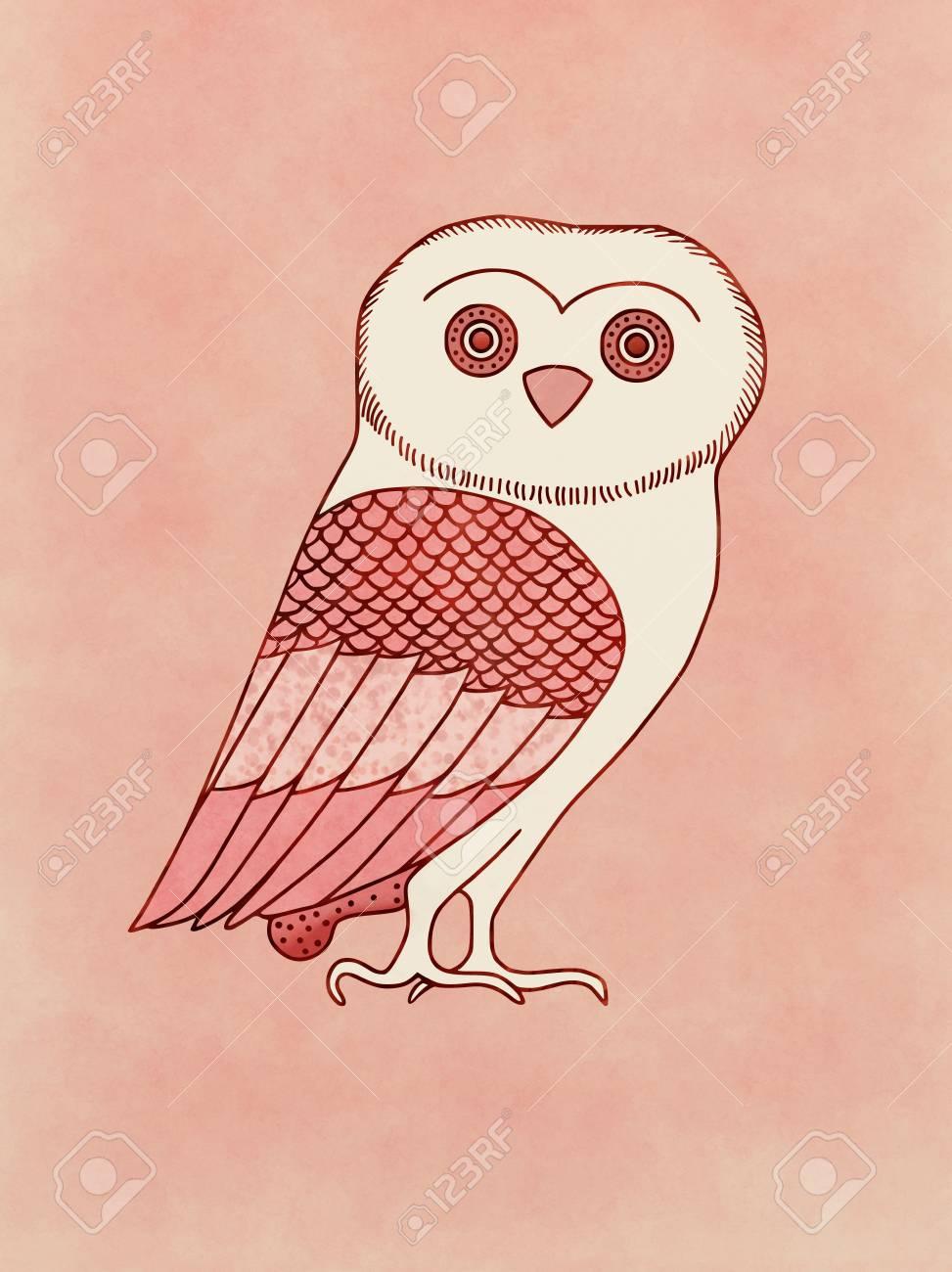 Cute Owl Symbol Of Athena Goddess And Athens Protector